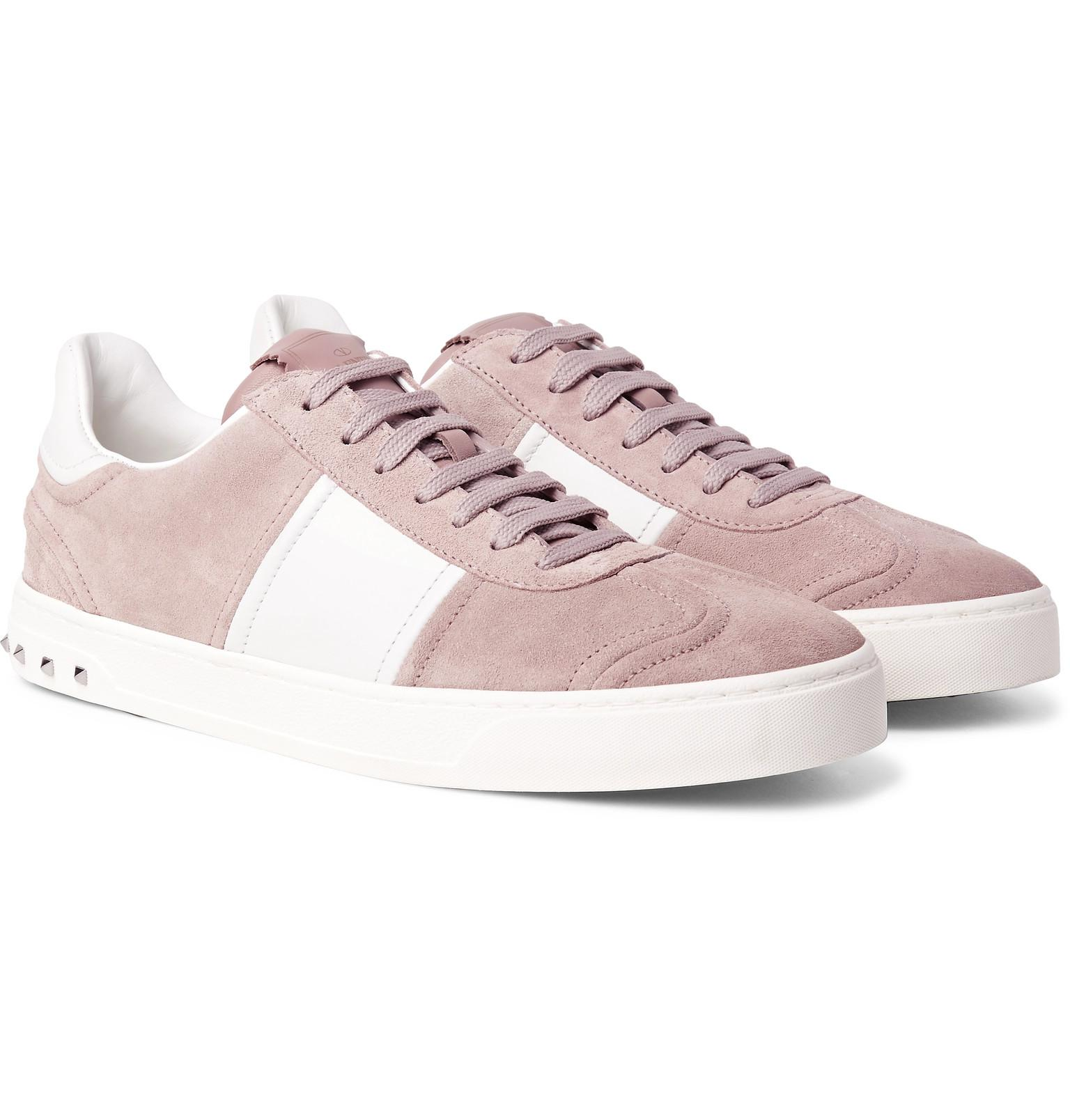 5221add08217a Valentino Garavani Flycrew Leather-panelled Suede Sneakers in Pink ...