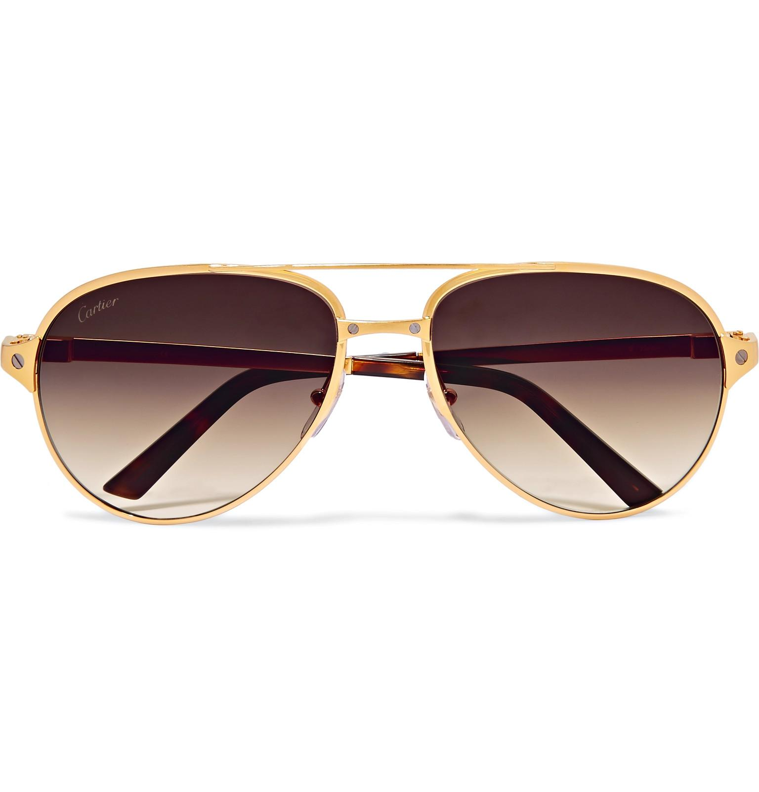 Leather Gold De Trimmed Cartier Lyst Style Aviator Santos g8ywnzyqA7