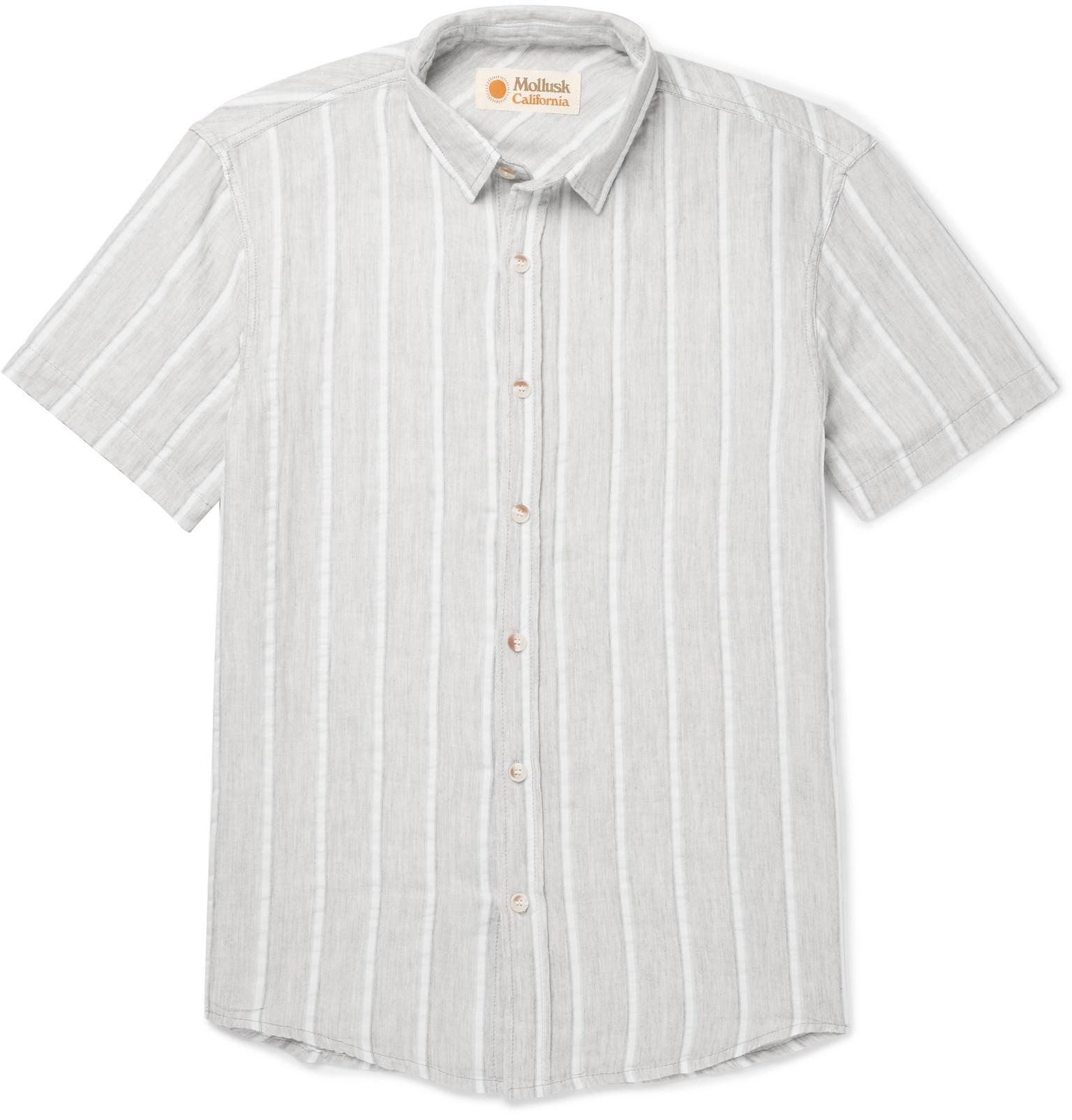 2e27653341e7 Lyst - Mollusk Striped Cotton Shirt in Gray for Men