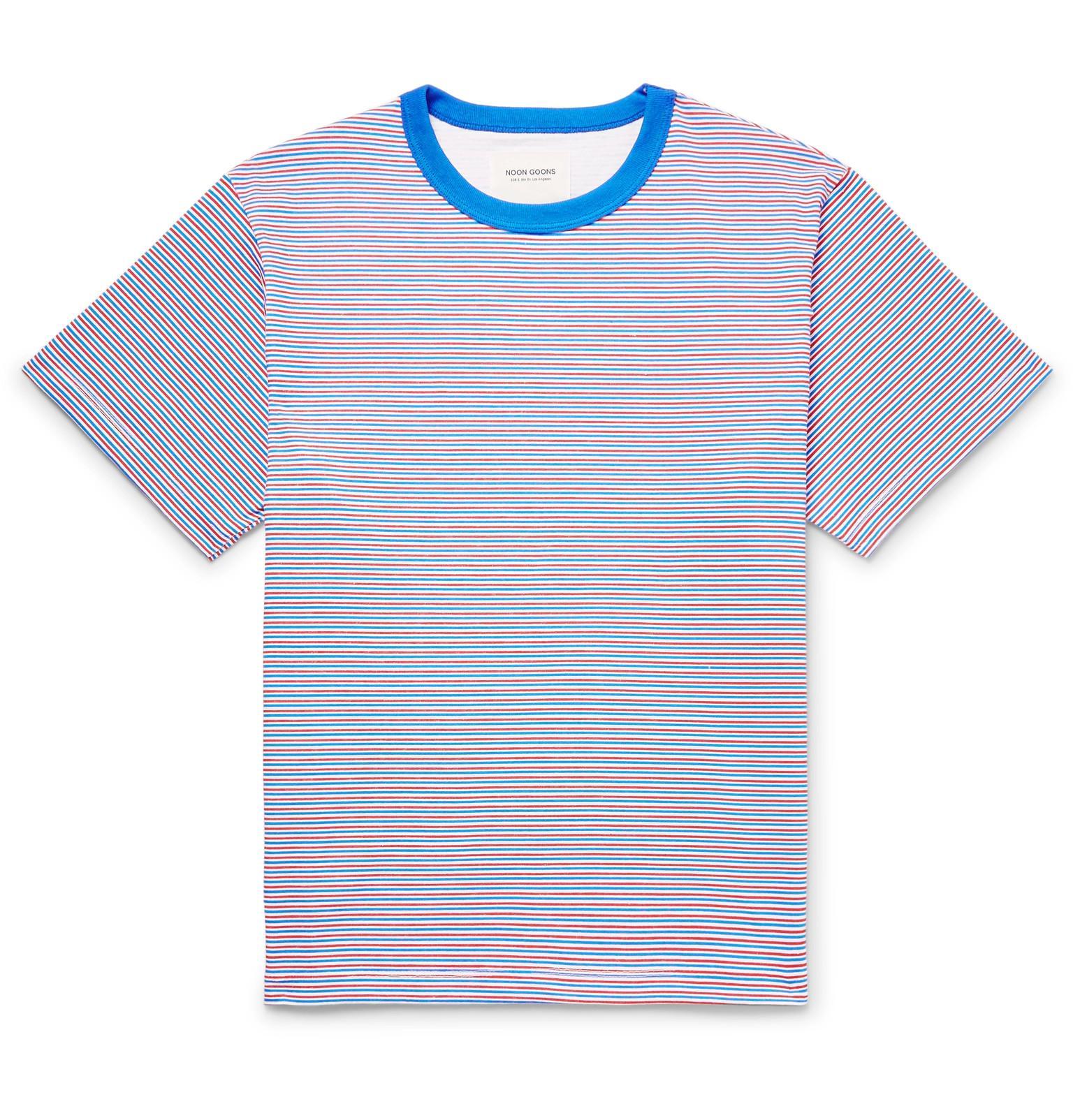 Livraison Gratuite Classique Footaction En Ligne NOON GOONS Striped Cotton-jersey T-shirt - Blue ioOIRuJ8