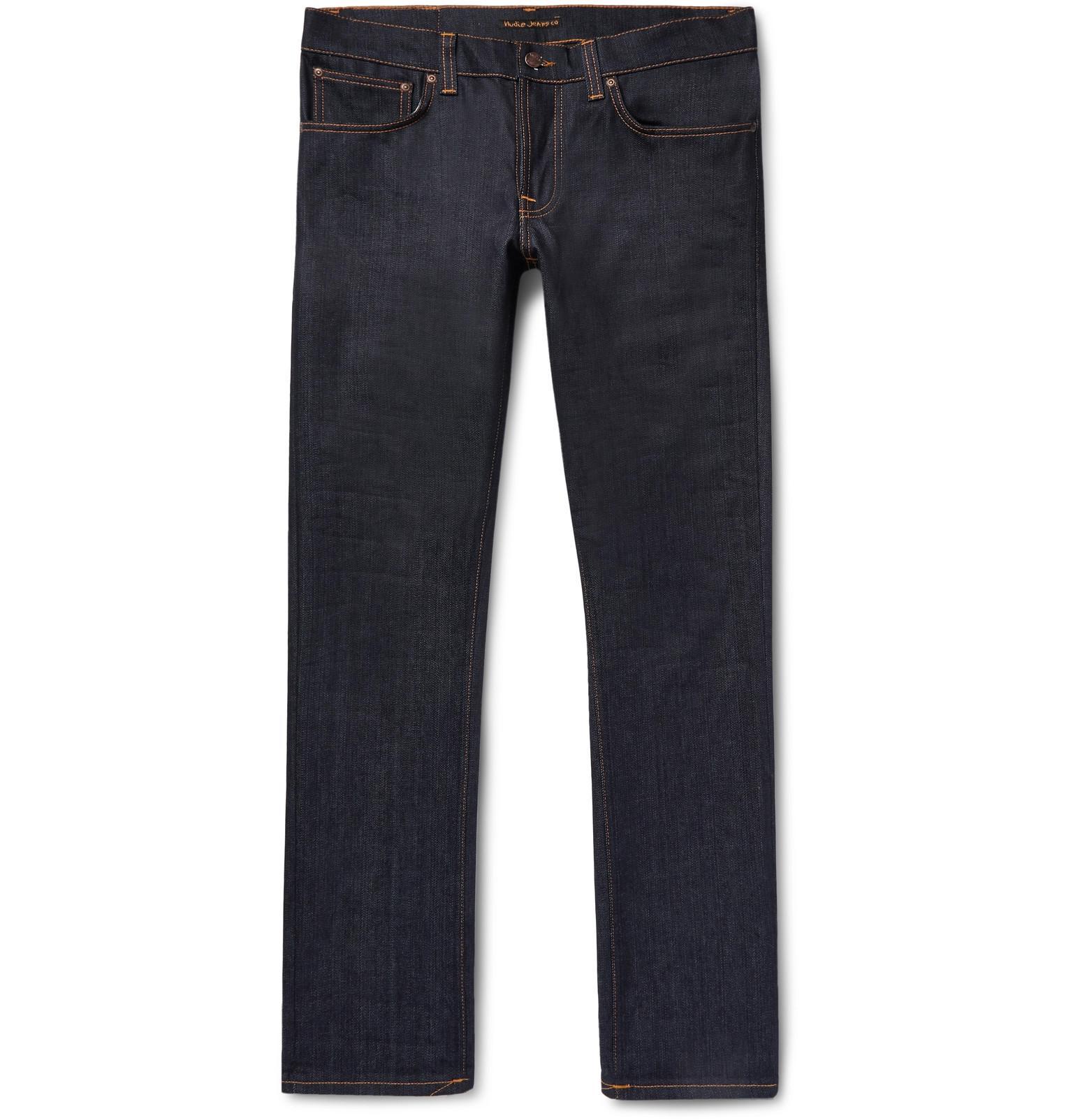 Nudie Grim Tim Slim-fit Organic Stretch-denim Jeans - Dark denim À Bas Prix ZMOcj