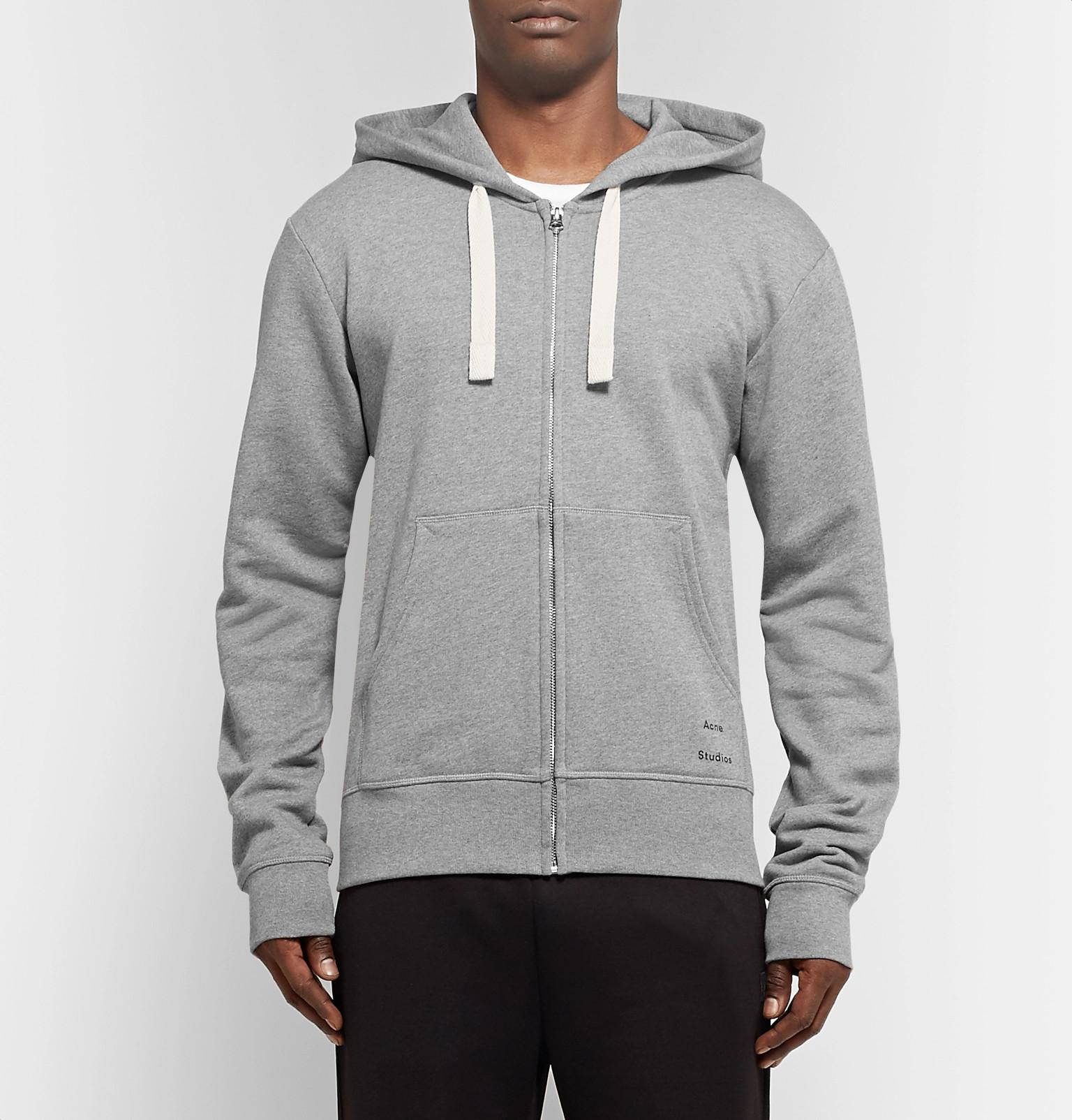 fddbfe33e7 Acne - Gray Frake Slim-fit Mélange Loopback Cotton-jersey Zip-up Hoodie.  View fullscreen