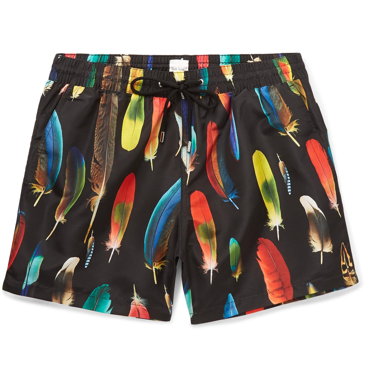 952f0dfb1f Paul Smith Mid-length Feather-print Swim Shorts in Black for Men - Lyst