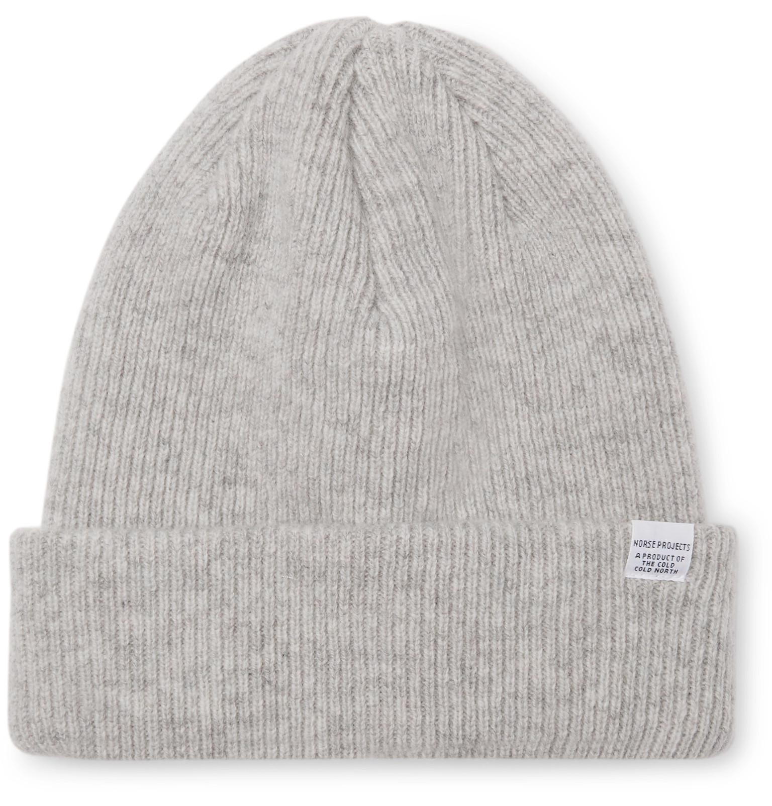 567ec9c67e7 Norse Projects Ribbed Mélange Merino Wool Beanie in Gray for Men - Lyst