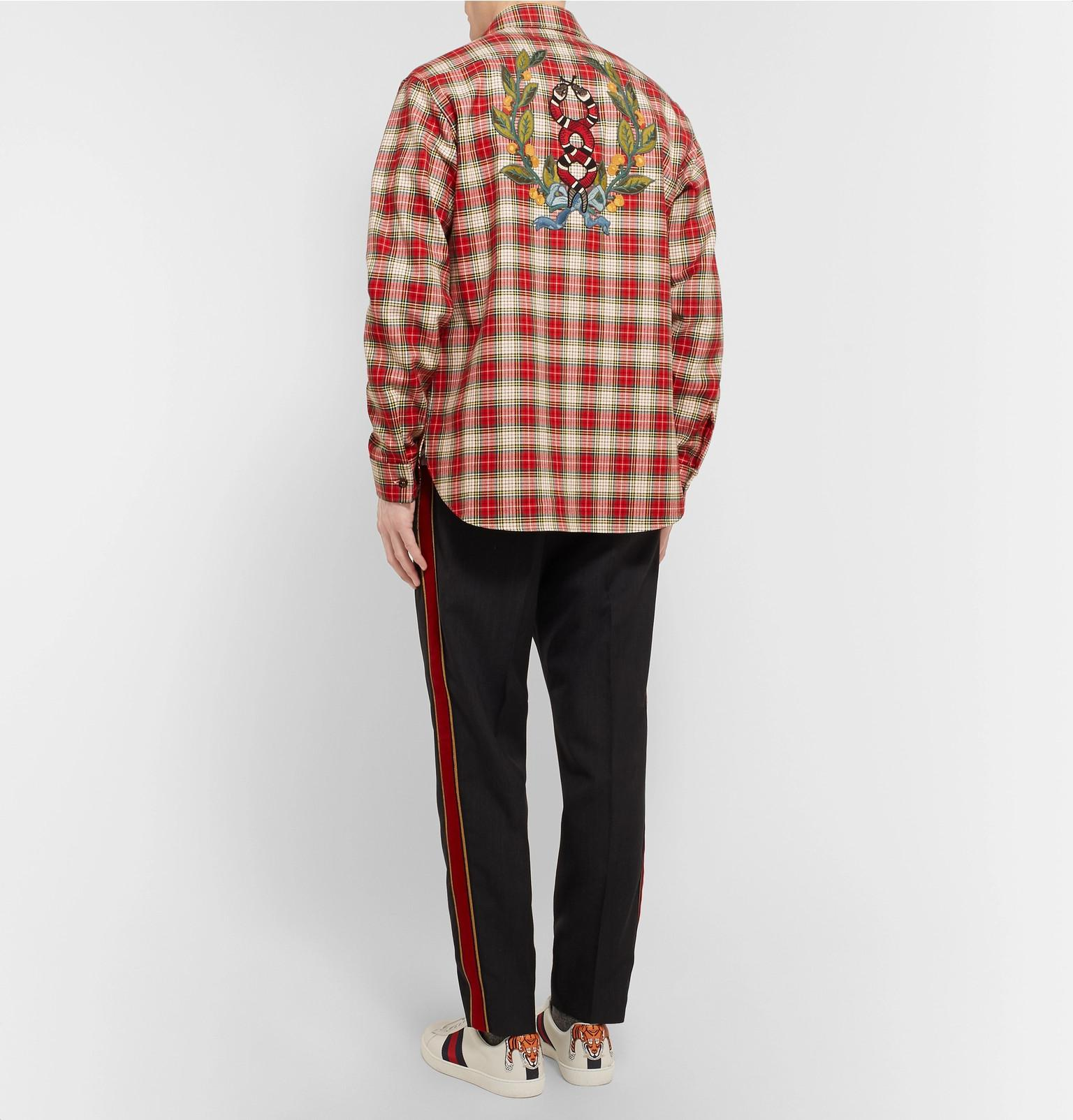439c76666 Gucci - Embroidered Checked Cotton-twill Shirt for Men - Lyst. View  fullscreen