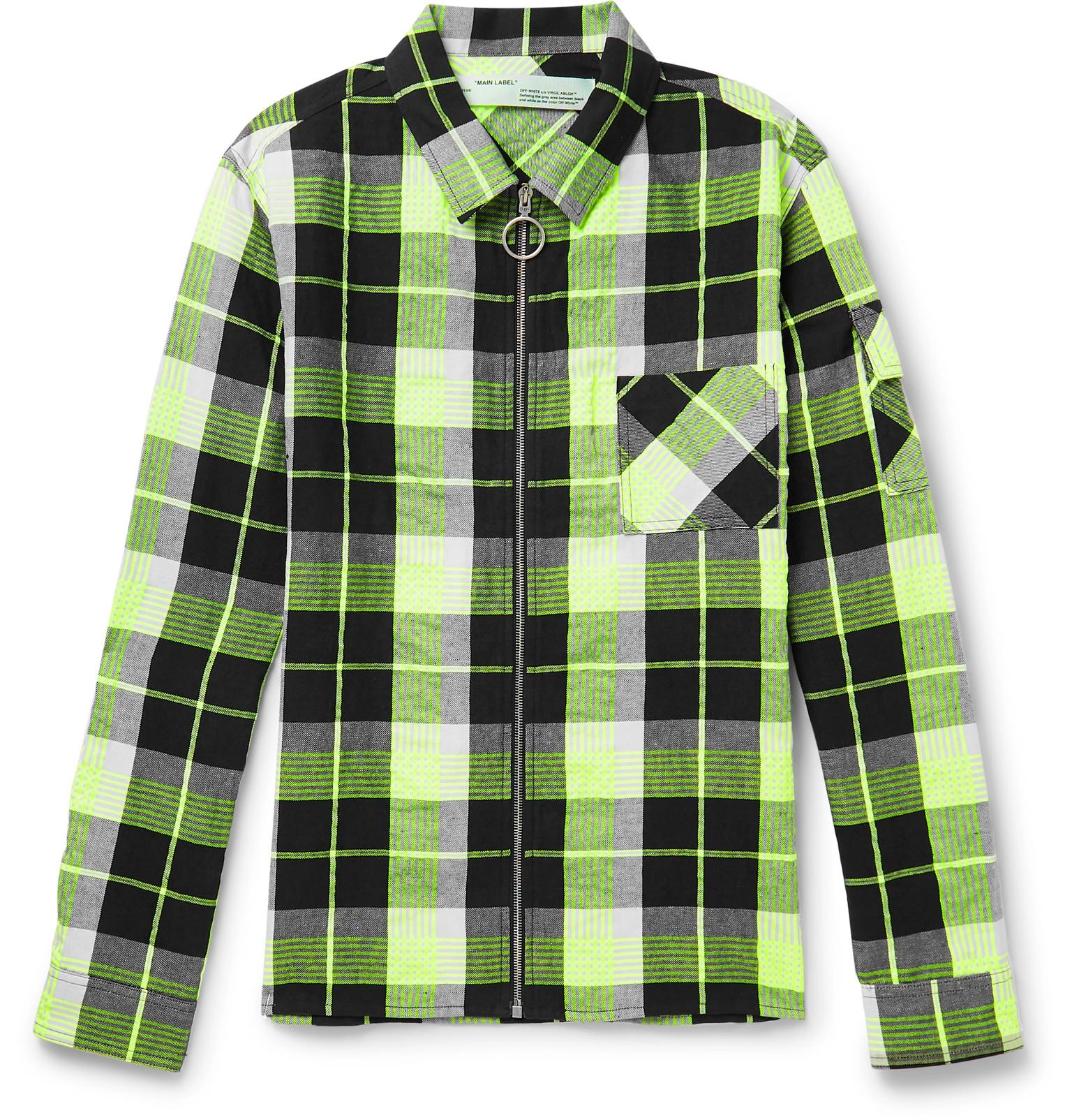 676e9bfce48a Lyst - Off-White c o Virgil Abloh Printed Checked Twill Zip-up Shirt ...