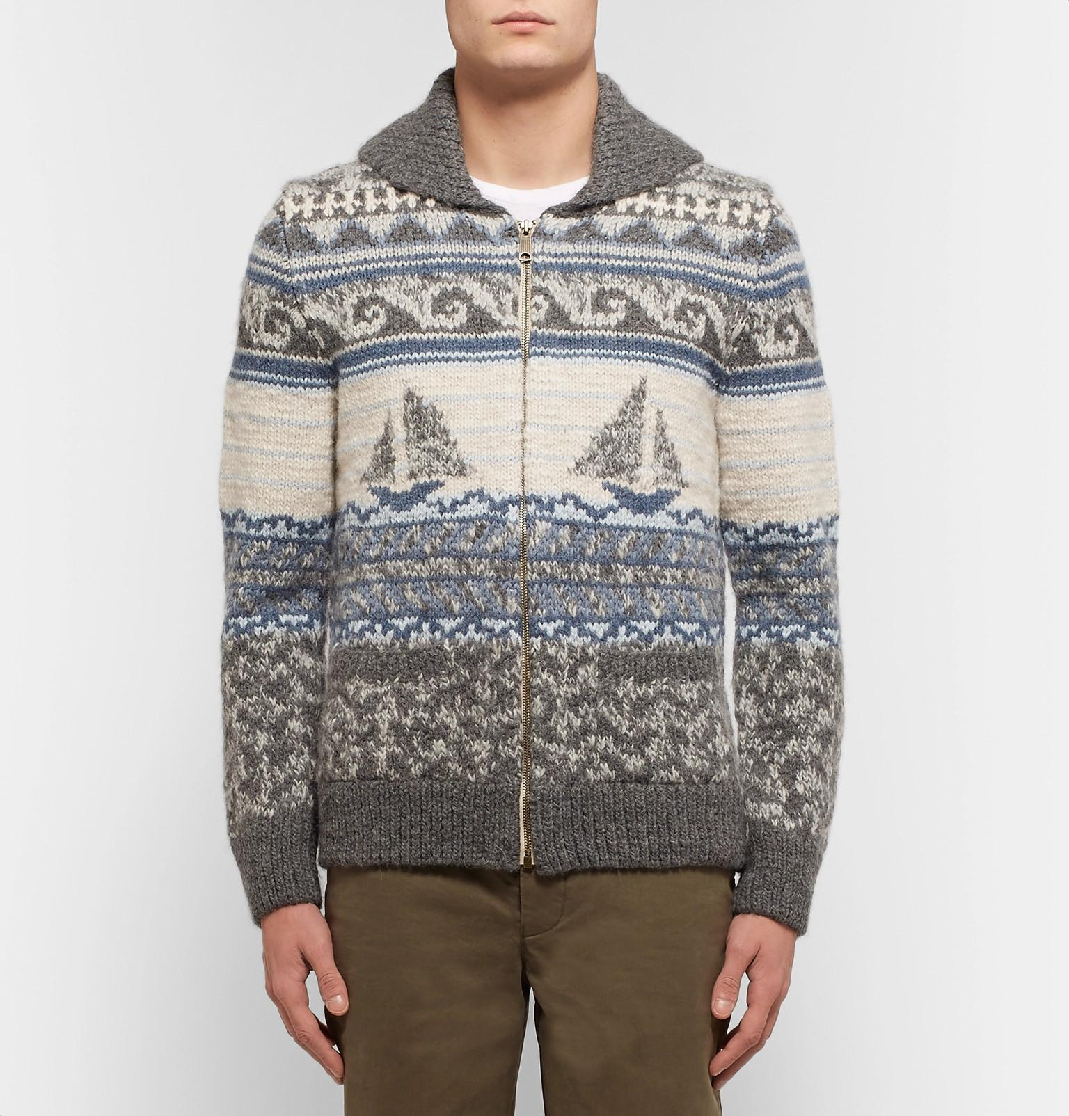 8ee2aade3 Lyst - Faherty Brand Sailboat-patterned Shawl-collar Merino Wool And ...