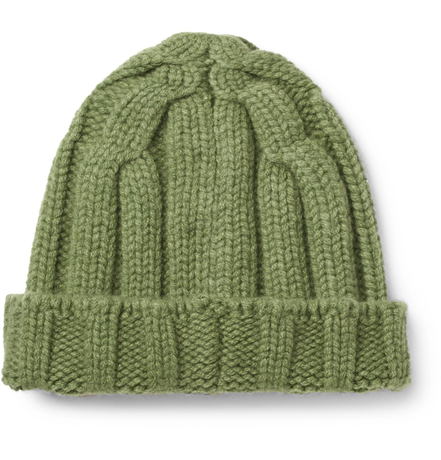 da270116dc8 CONNOLLY Ribbed Merino Wool And Cashmere-blend Beanie in Green for ...