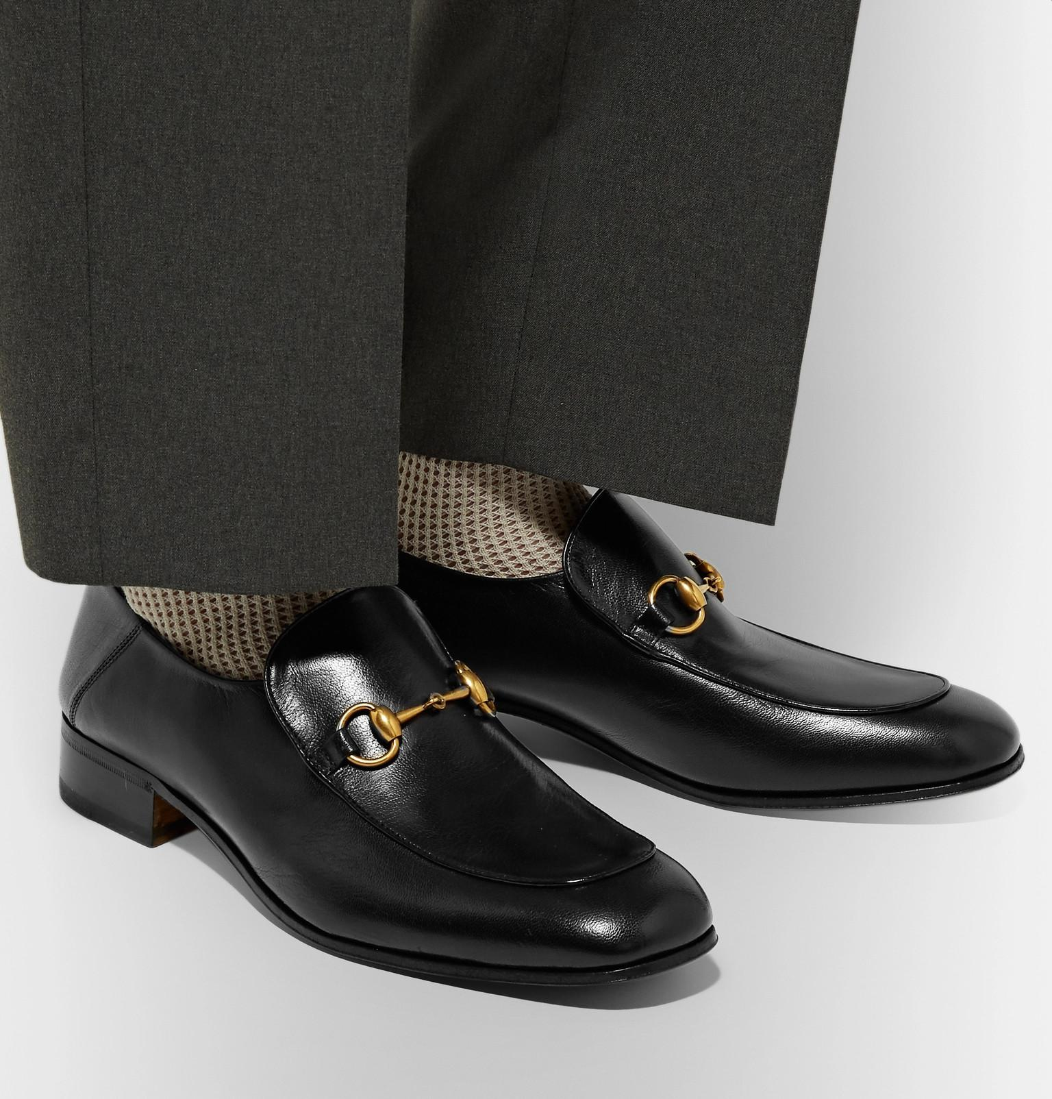 20d32aa69fa Gucci - Black Mister Horsebit Collapsible-heel Leather Loafers for Men -  Lyst. View fullscreen