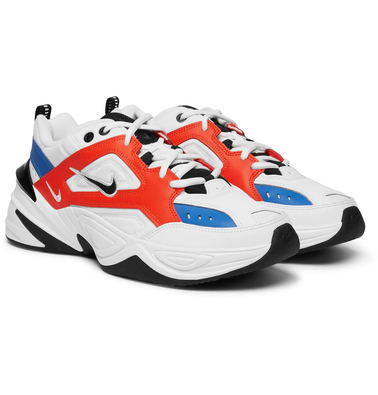 meet 09e26 783cf Nike M2k Tekno Leather, Nylon And Mesh Sneakers in White for