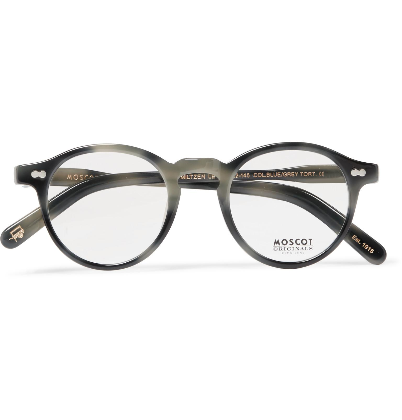 9796f7e00a Lyst - Moscot Miltzen Round-frame Acetate Optical Glasses in Gray ...