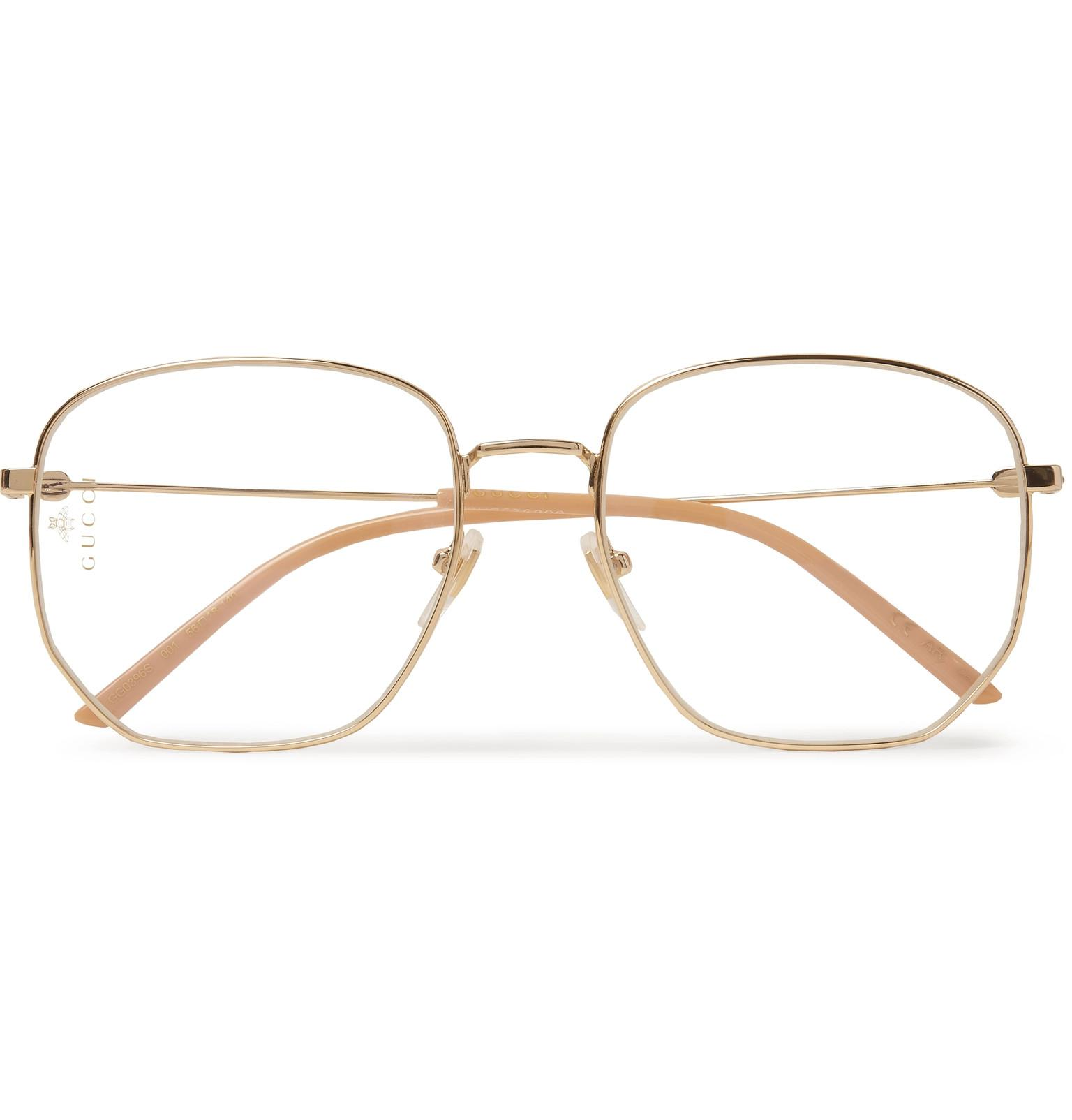 c1b9d2c95d Gucci - Metallic Hexagon-frame Gold-tone Optical Glasses for Men - Lyst.  View fullscreen