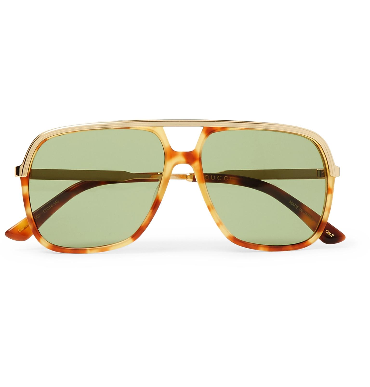 68dd9be2a98 Lyst - Gucci Aviator-style Tortoiseshell Acetate And Gold-tone ...