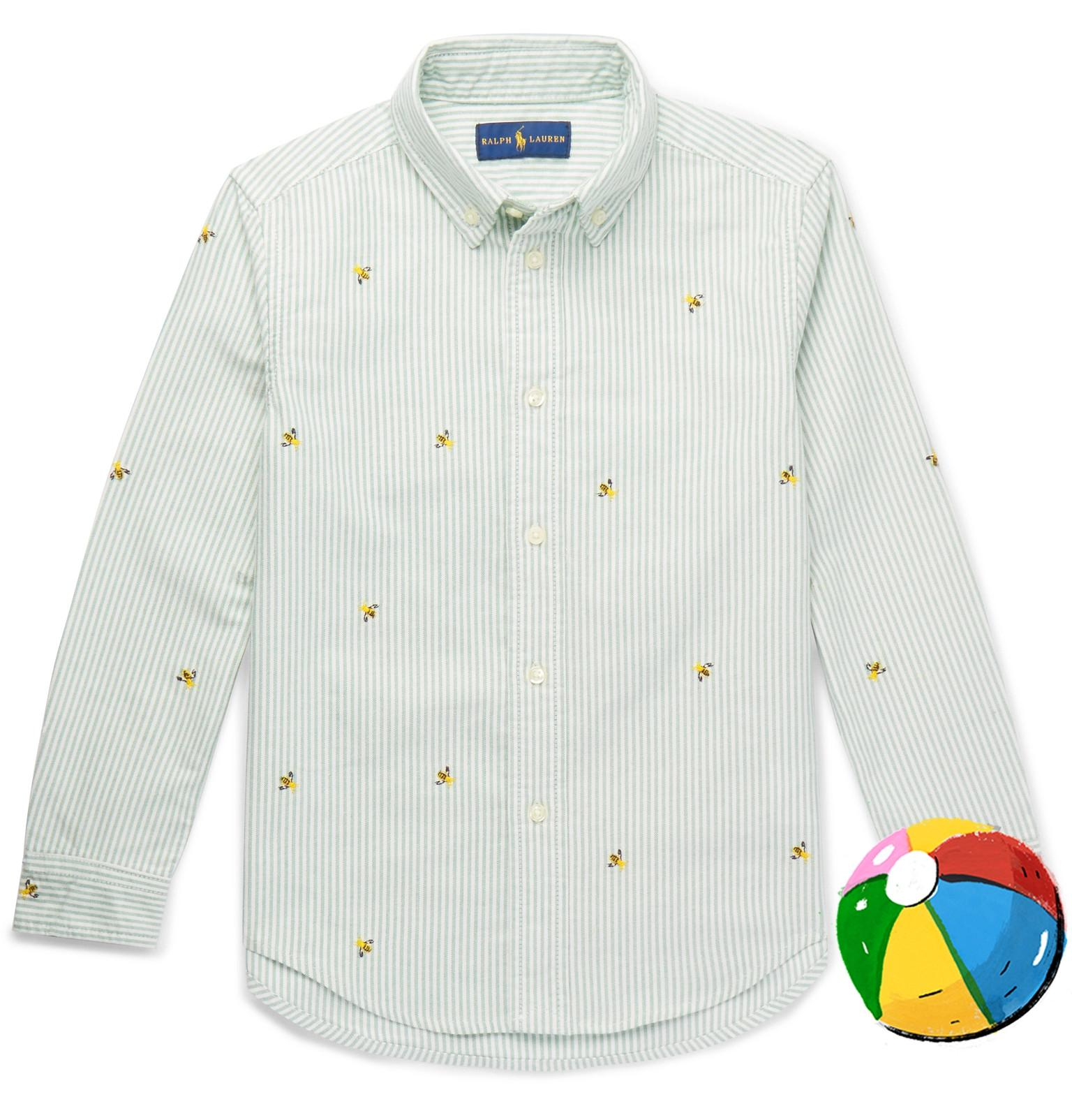 Ralph Lauren Boys Ages 8 - 10 Embroidered Linen And Cotton-blend Chambray Shirt - Blue g7gIGLUJE