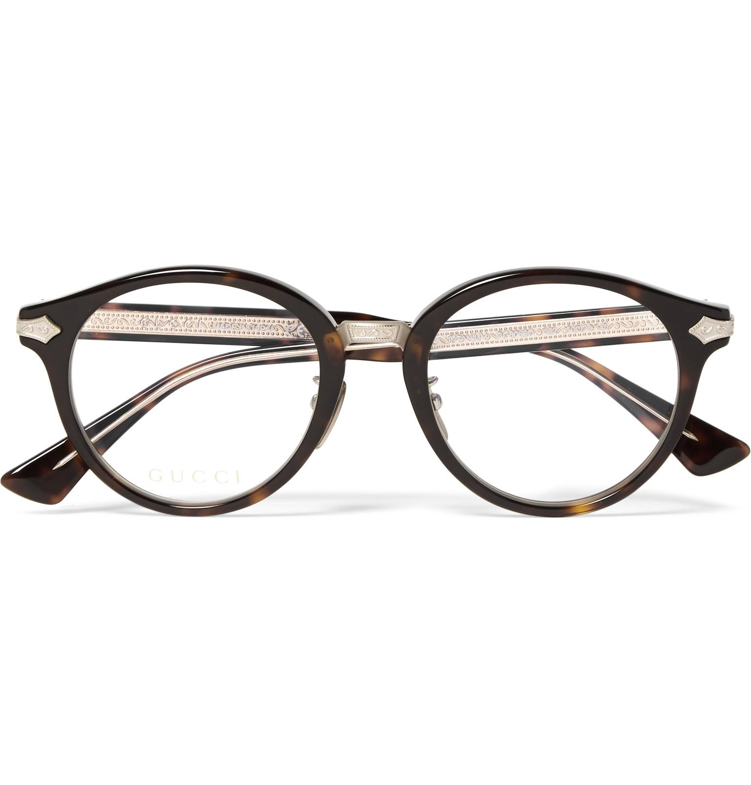 1fce39768d Lyst - Gucci Round-frame Tortoiseshell Acetate And Gold-tone Optical ...