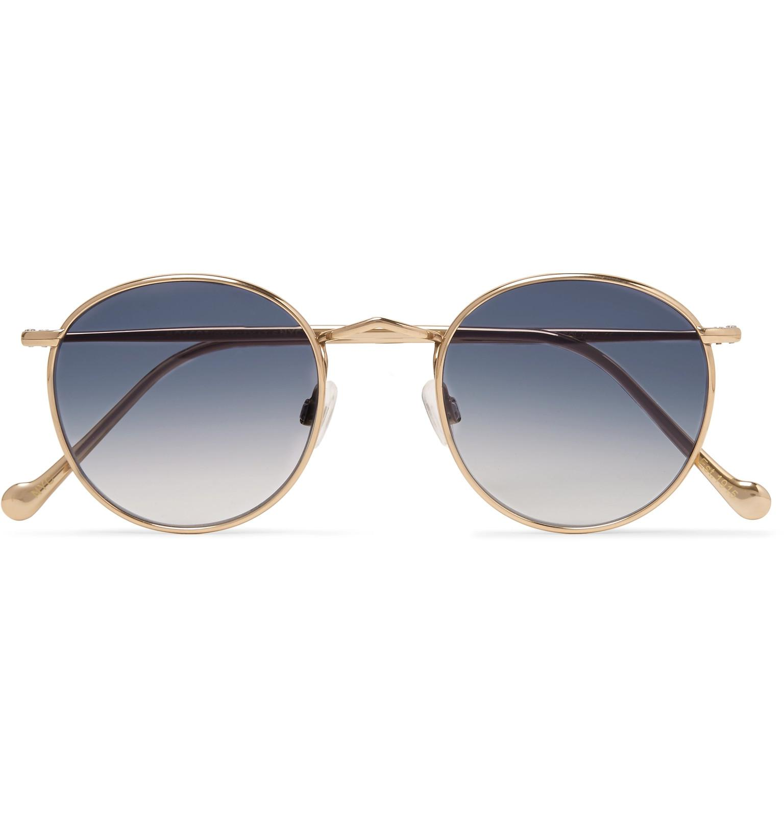 1fad51bfe396 Moscot. Men s Metallic Zev Round-frame Gold-tone Titanium Sunglasses