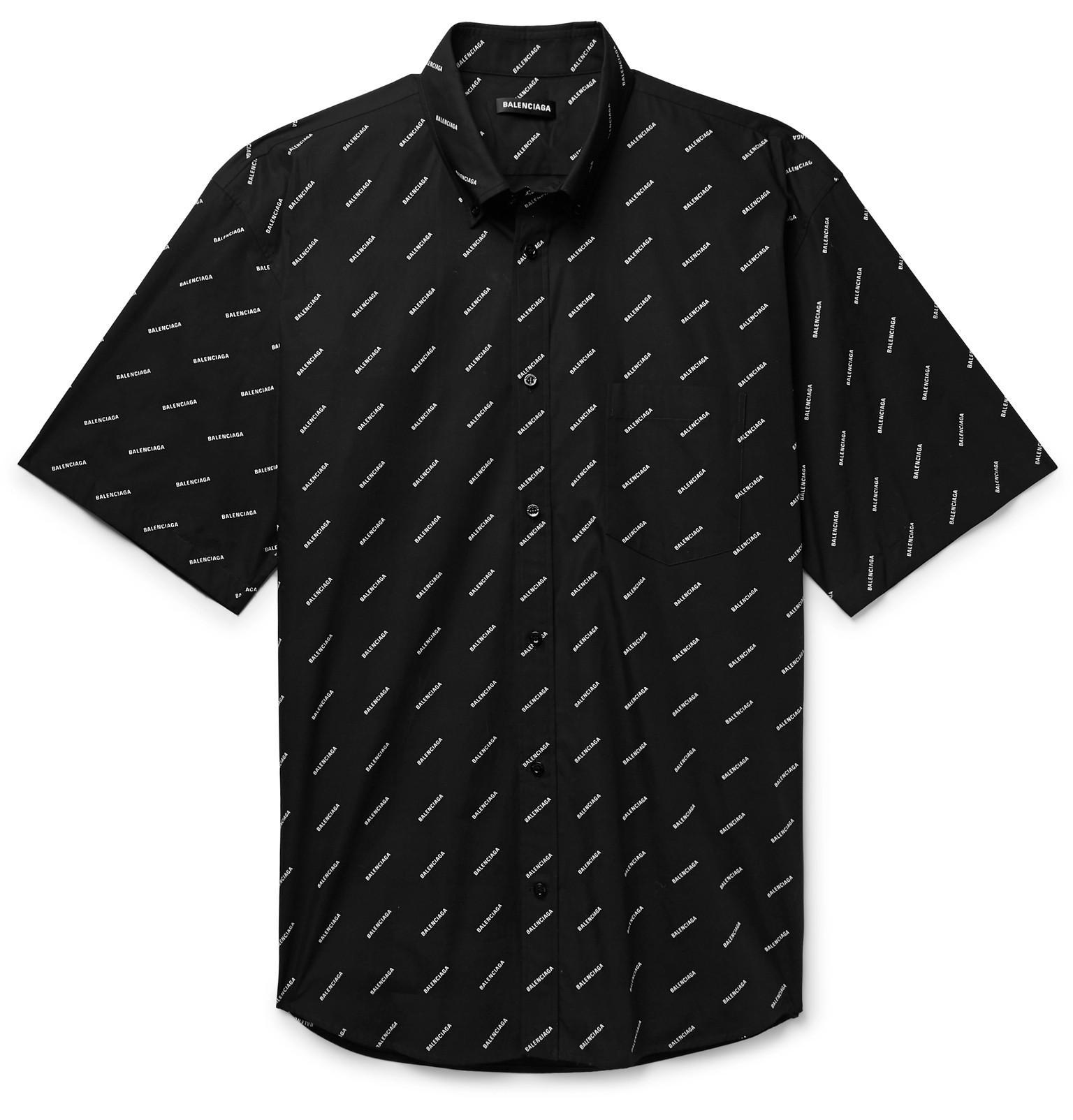 d1a9ae7b45a Lyst - Balenciaga Black And White Logo Normal Fit Shirt in Black for ...