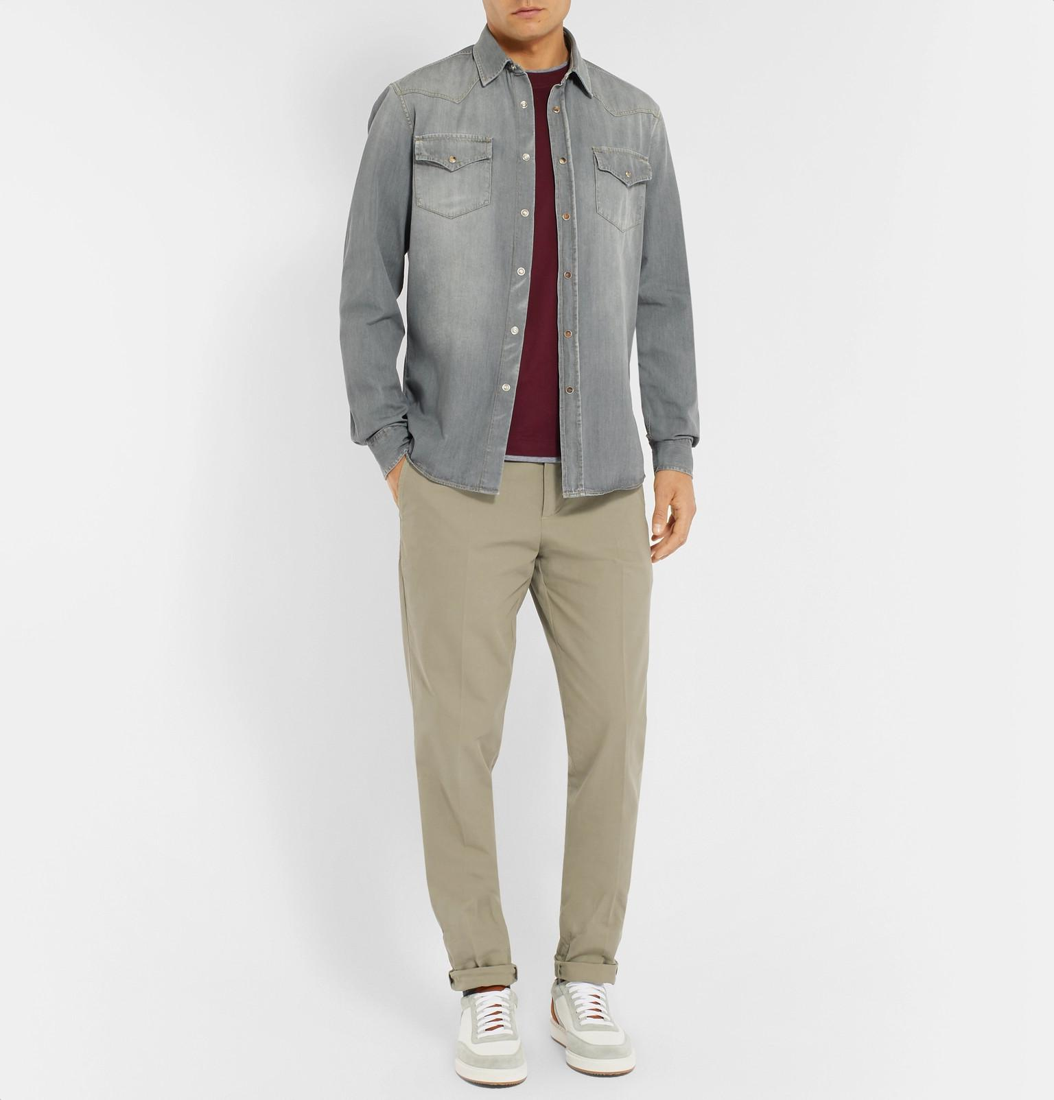 e4dd1db7e4 Brunello Cucinelli - Gray Slim-fit Washed-denim Western Shirt for Men -  Lyst. View fullscreen