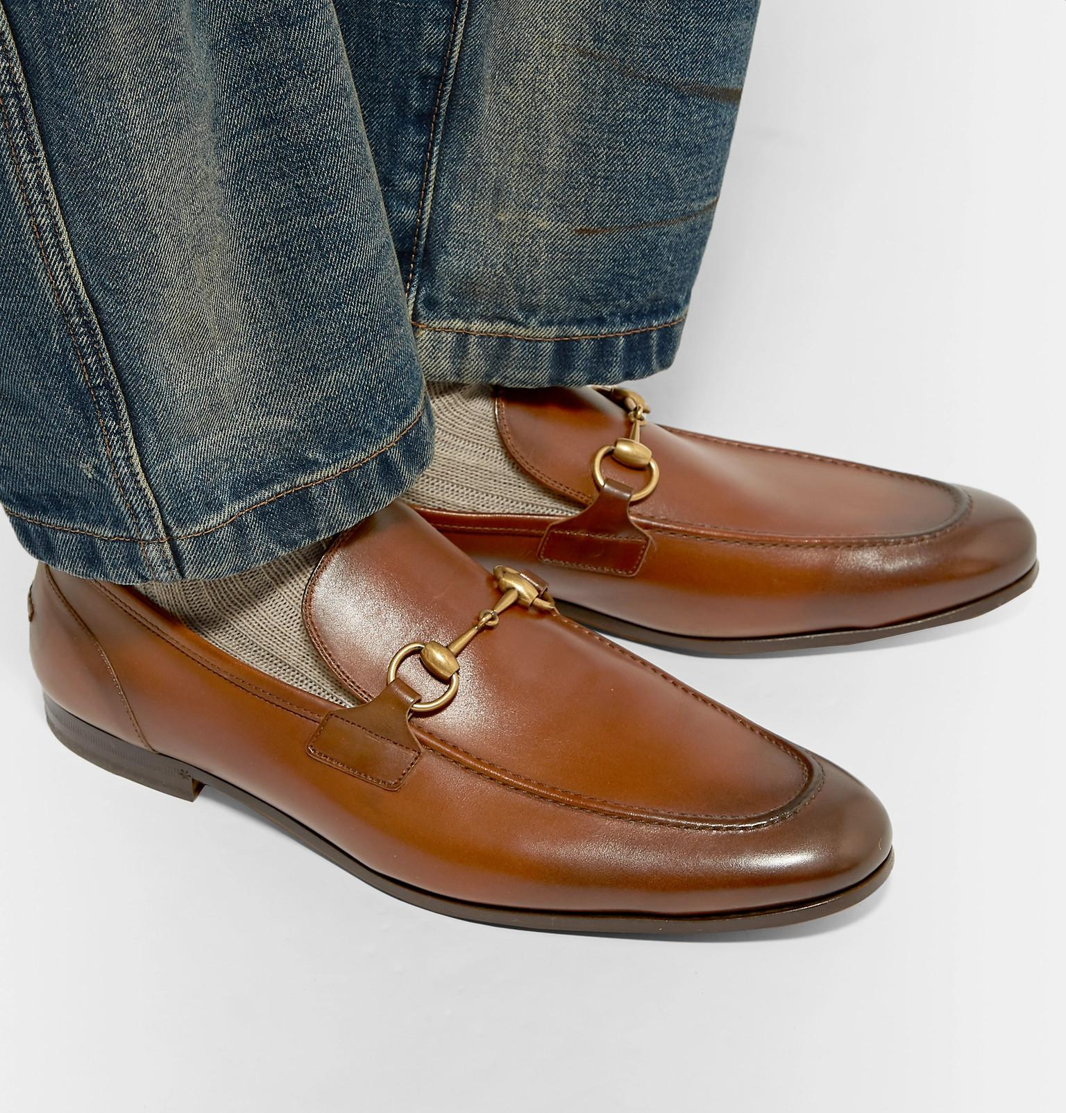 92db2f689ec Gucci Jordaan Horsebit Burnished-leather Loafers in Brown for Men - Lyst
