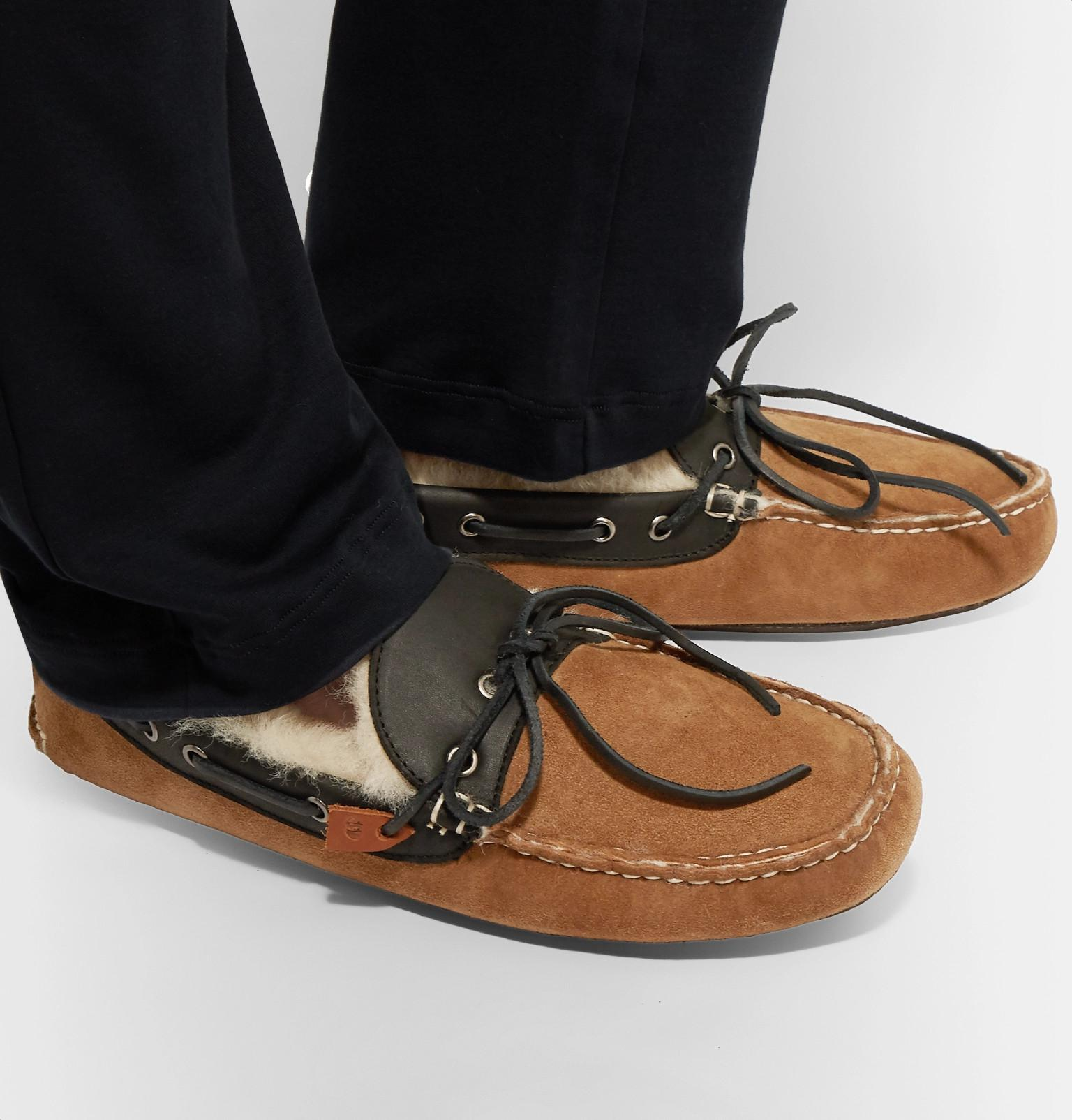 5d4c2746b03 Quoddy Fireside Leather-trimmed Shearling-lined Suede Slippers in ...