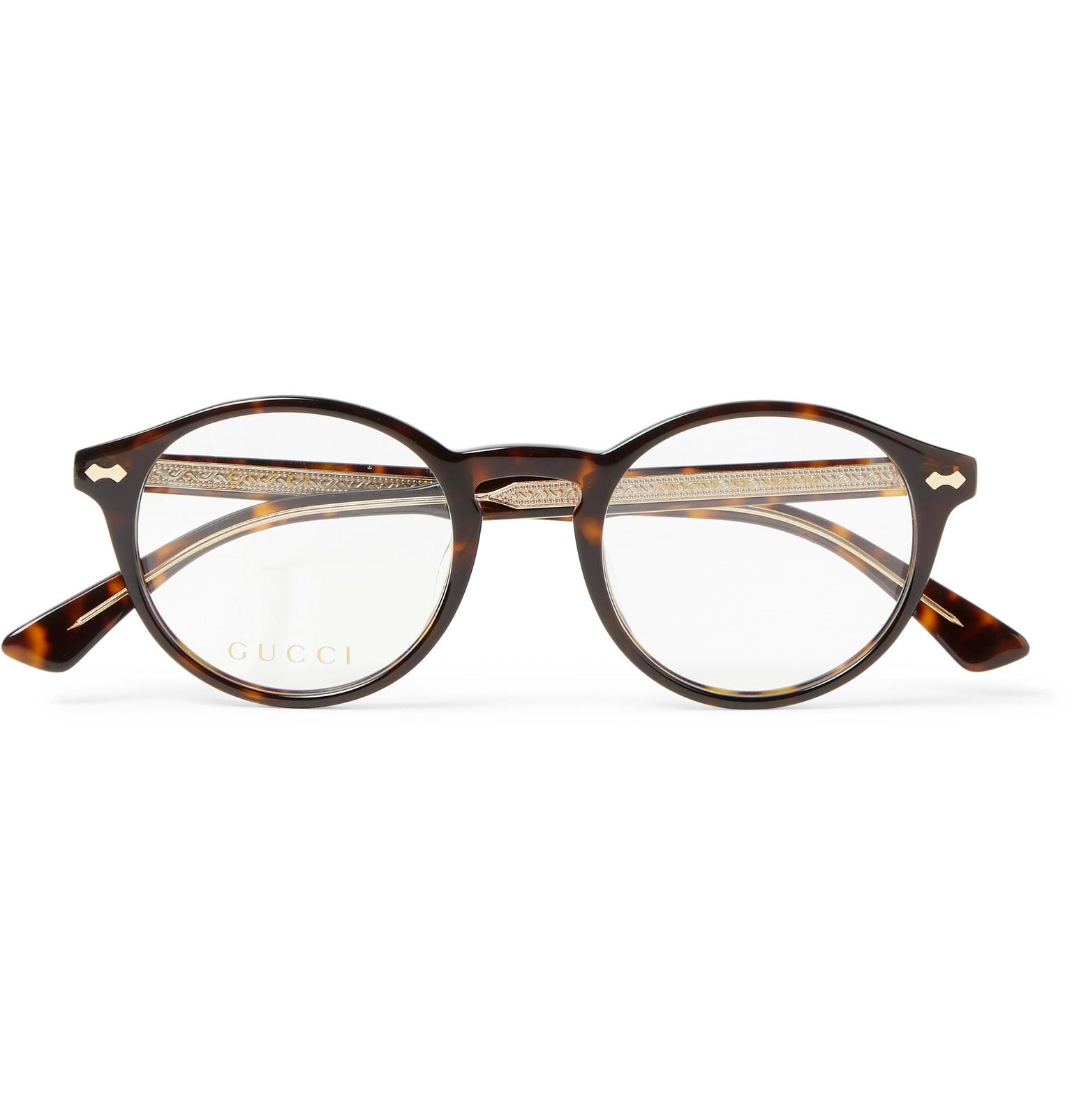 47d59206d63 Lyst - Gucci Round-frame Tortoiseshell Acetate Optical Glasses in ...