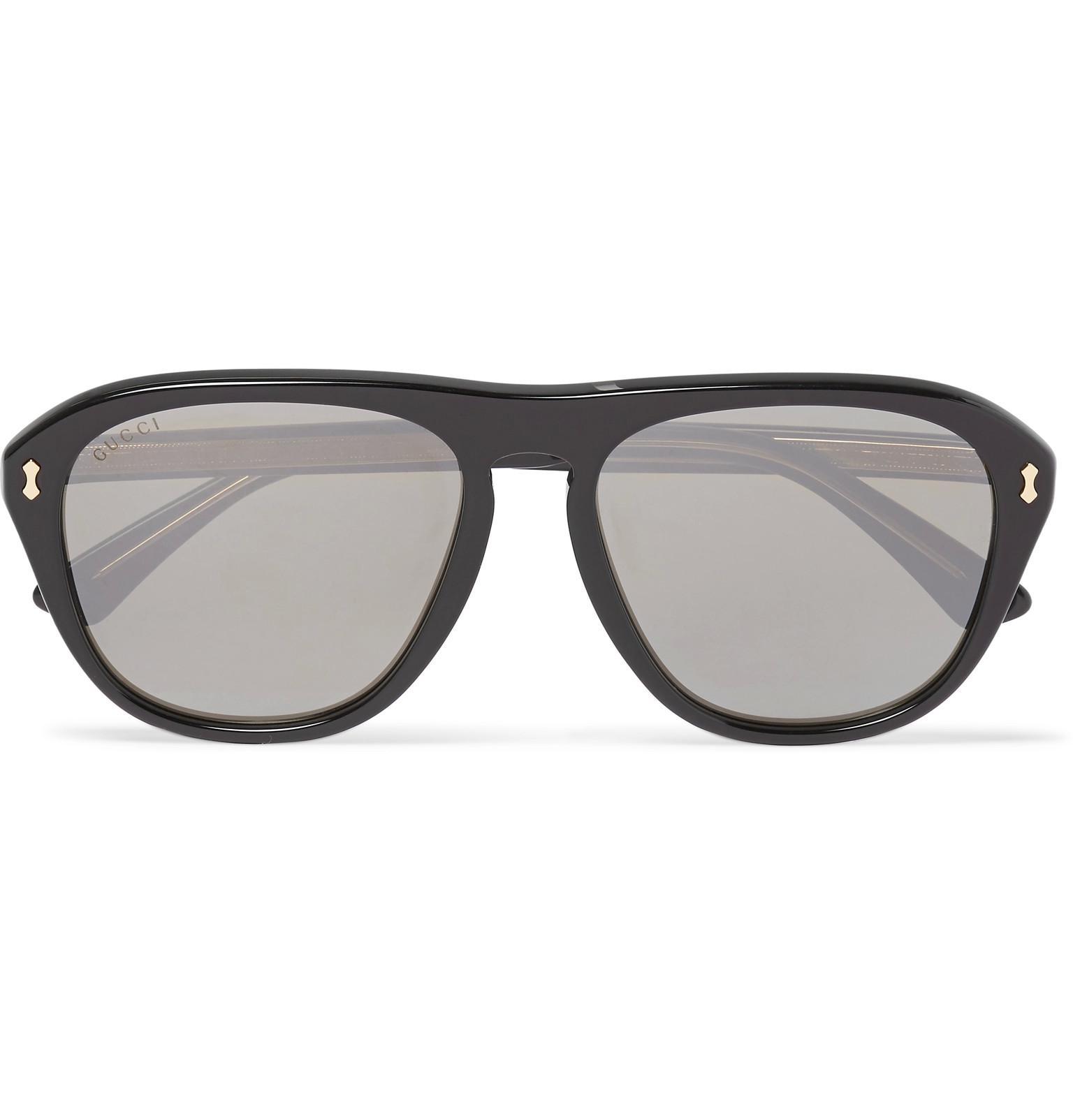 6e34e1987bba Gucci Aviator-style Acetate Mirrored Sunglasses in Black for Men - Lyst