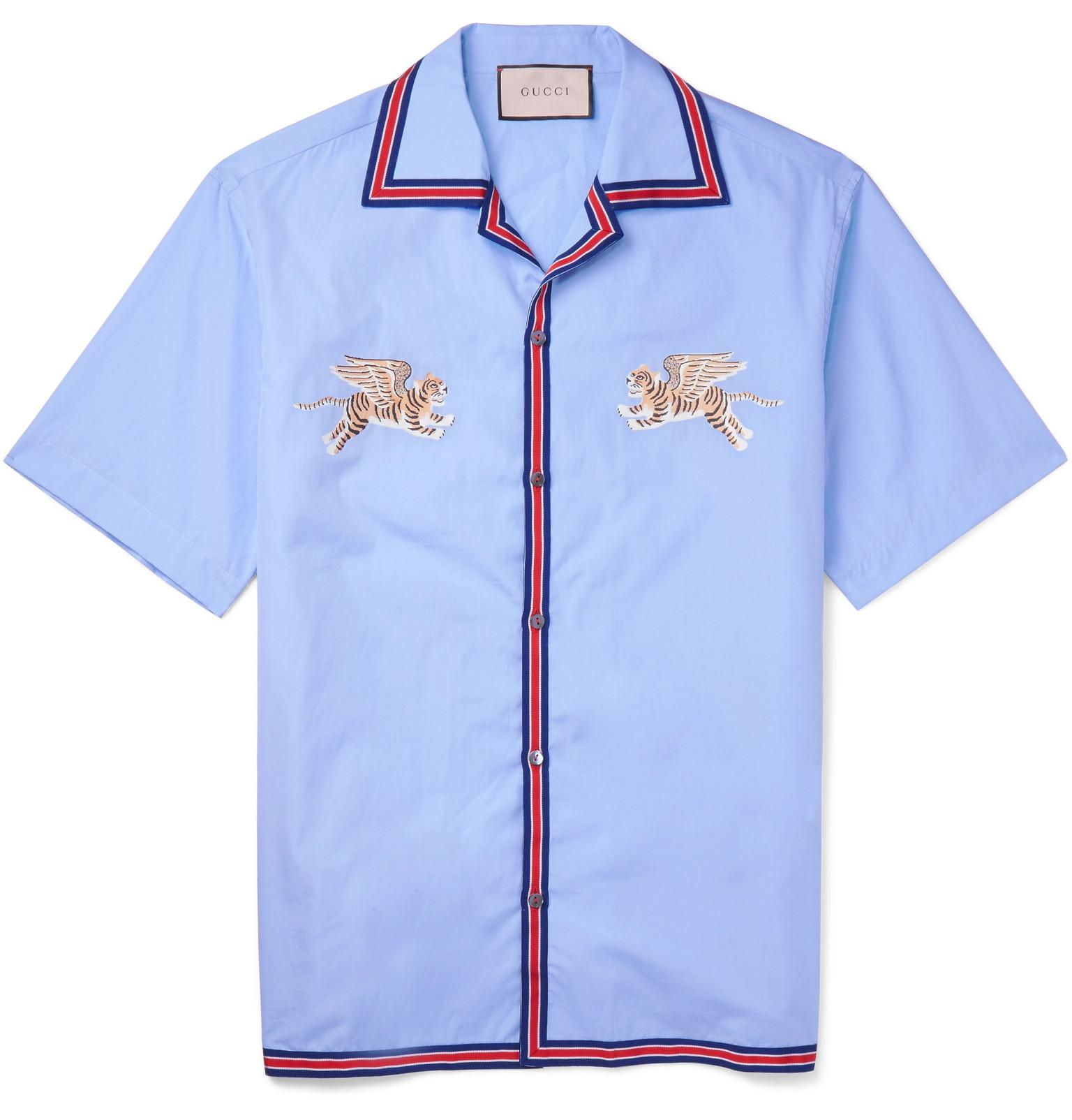4c99c8d70 Gucci - Blue Camp-collar Embroidered Cotton Shirt for Men - Lyst. View  fullscreen