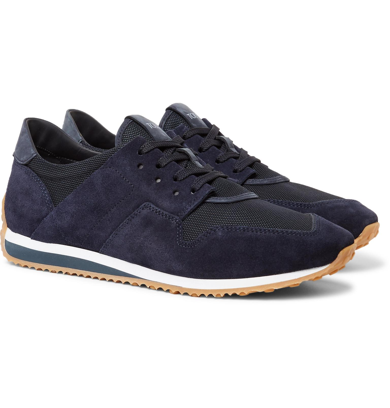 Leather, Suede And Mesh Sneakers Tod's