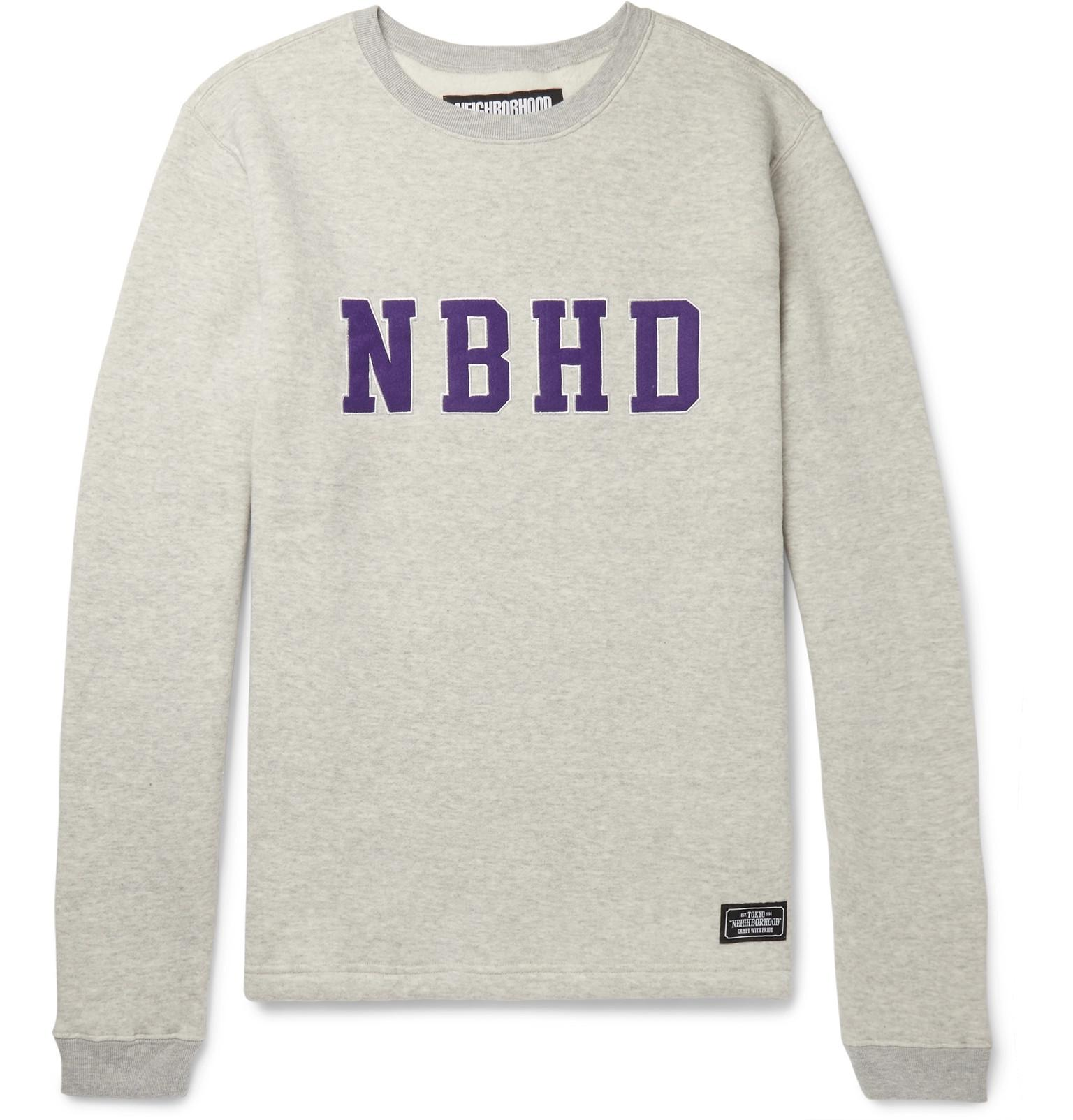 Fleece Mélange Neighborhood Jersey Fullscreen Back View Gray For Cotton Logo Appliquéd Men Sweatshirt wIBHBt