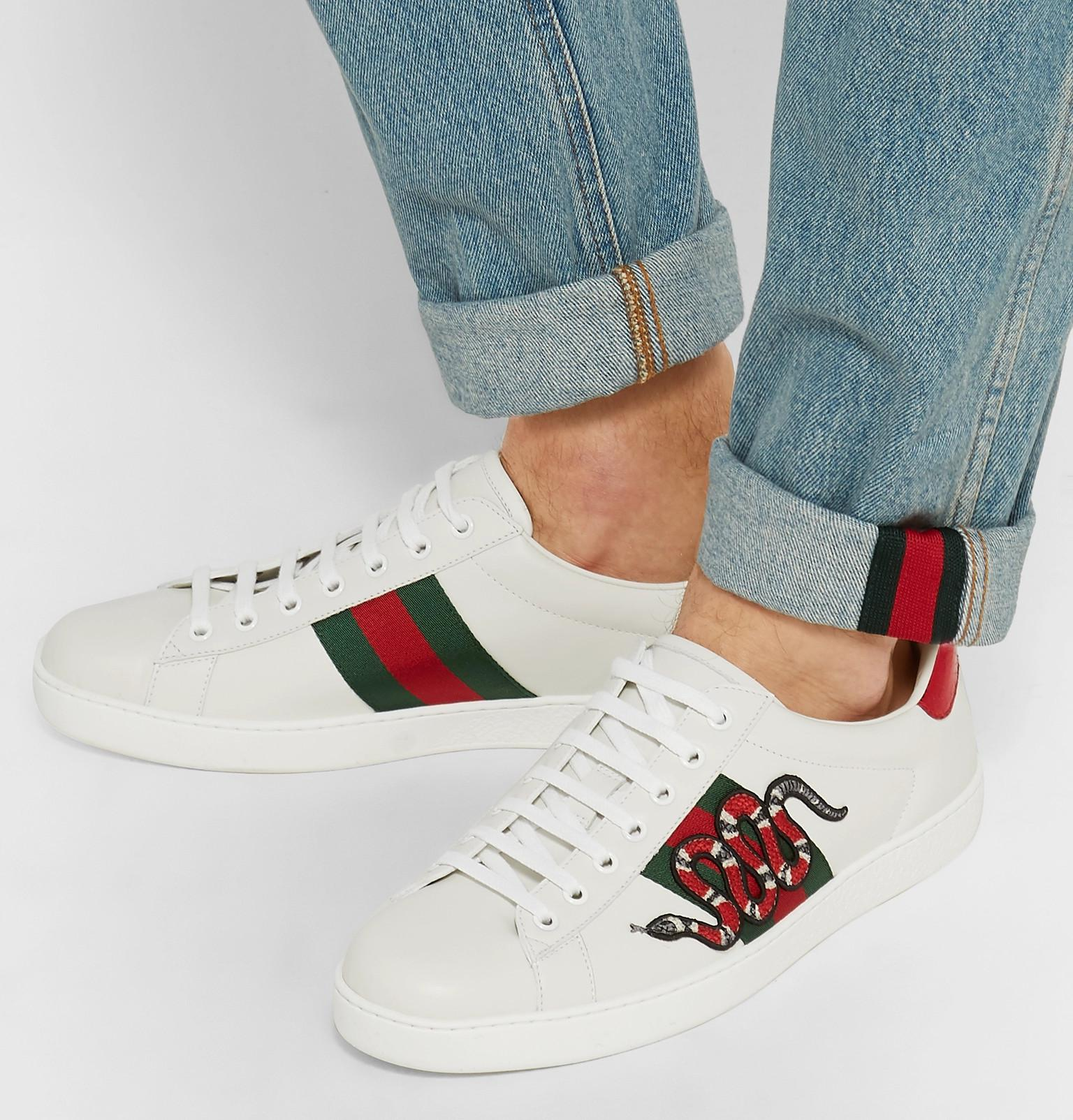bb1283dbb3a Gucci - White Ace Snake-appliquéd Leather Trainers for Men - Lyst. View  fullscreen