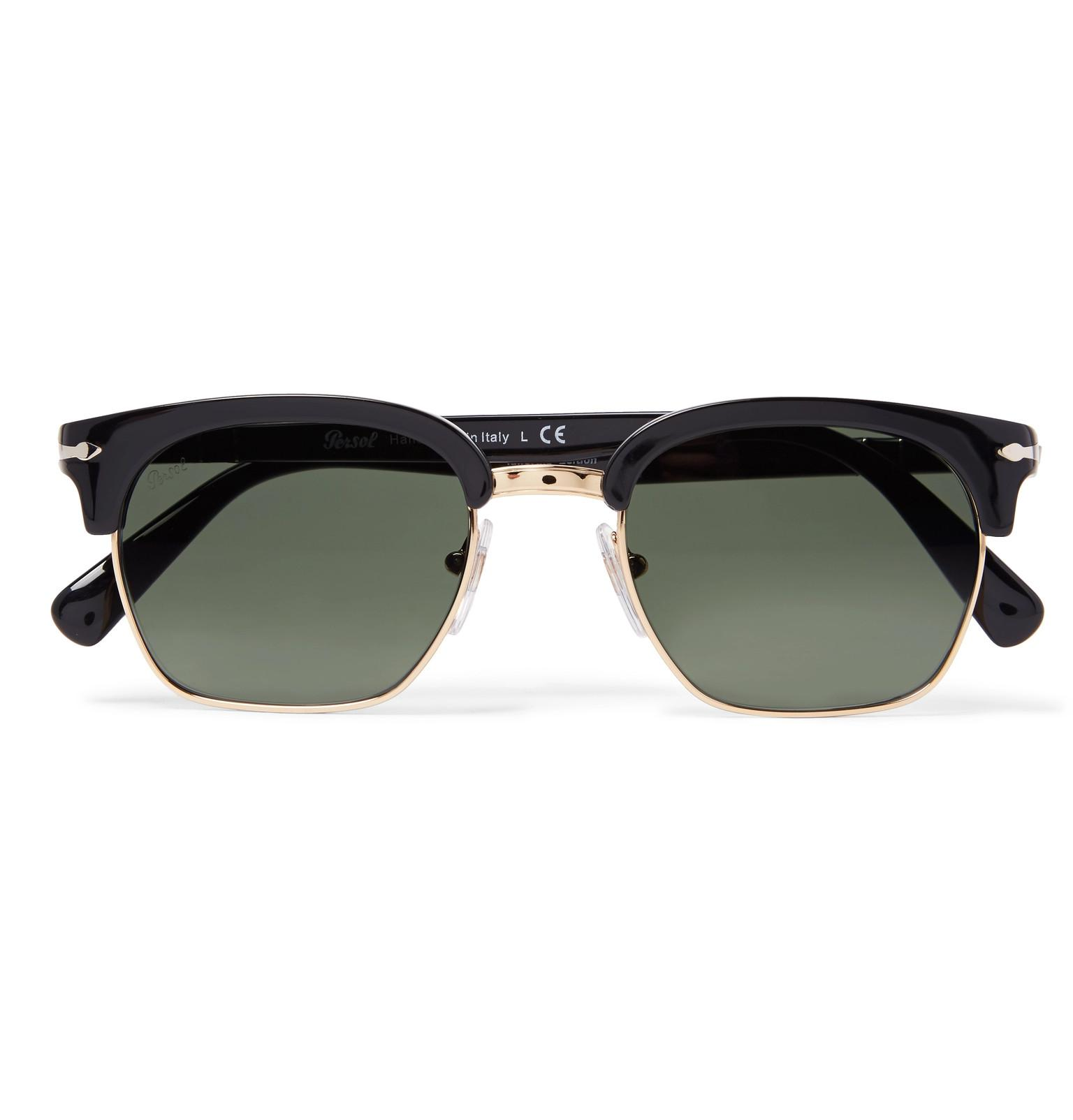 bf47b91827 Persol D-frame Gold-tone And Acetate Sunglasses in Black for Men - Lyst