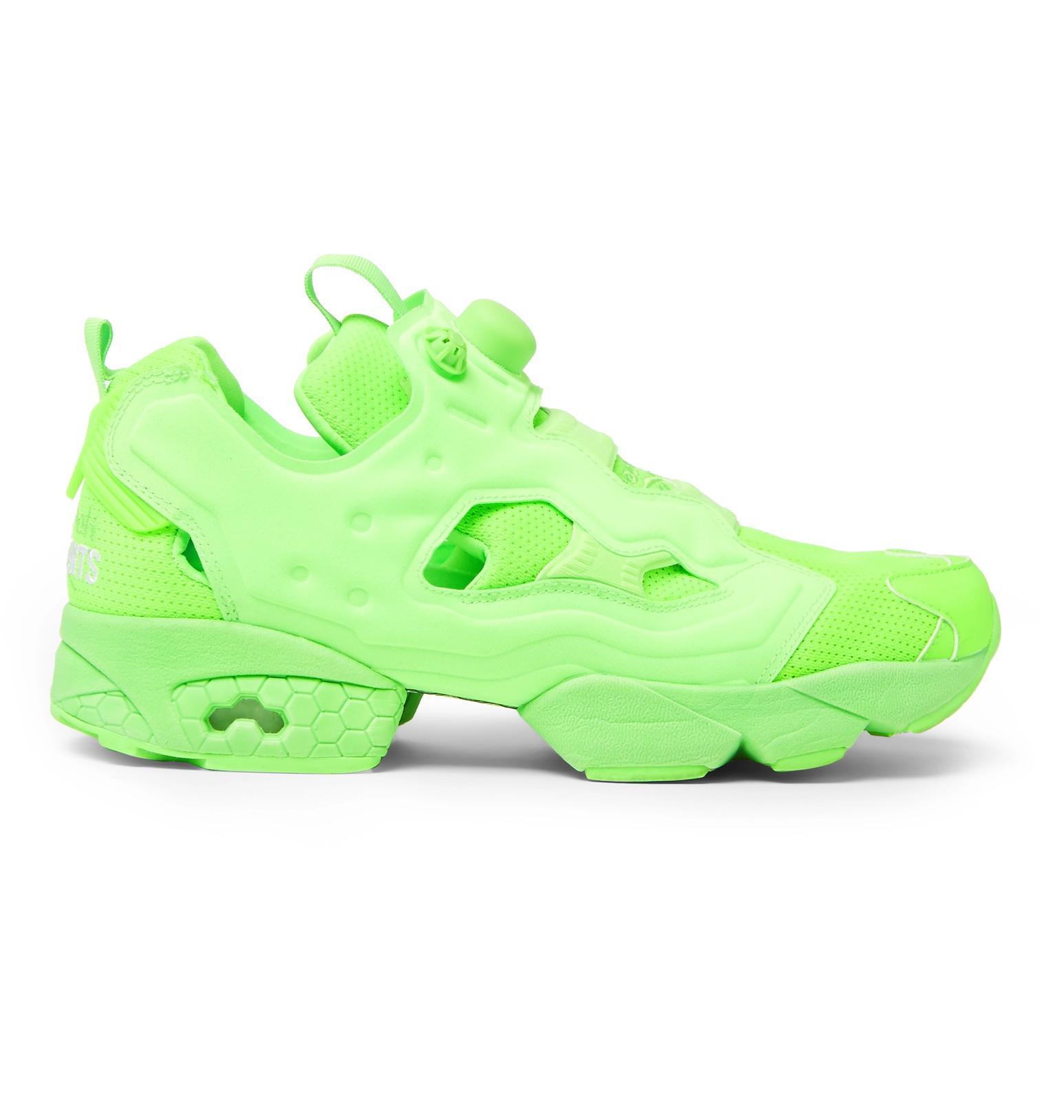 834bdfb7ecb29 Vetements + Reebok Instapump Fury Neon Slip-on Sneakers in Green for ...