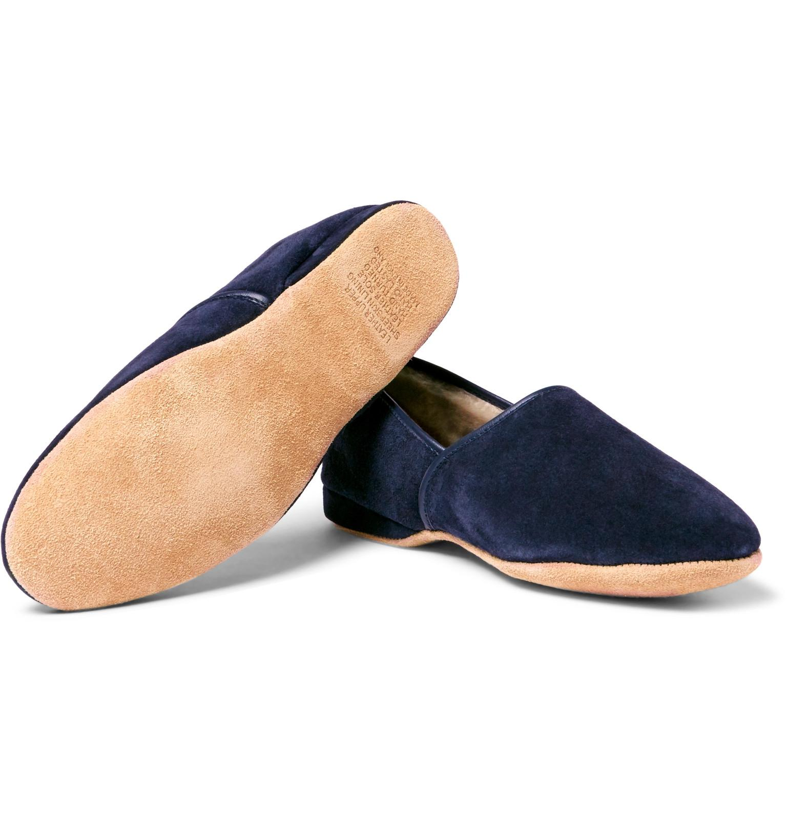 1812e0c35ab2 Derek Rose Crawford Shearling-lined Suede Slippers in Blue for Men ...