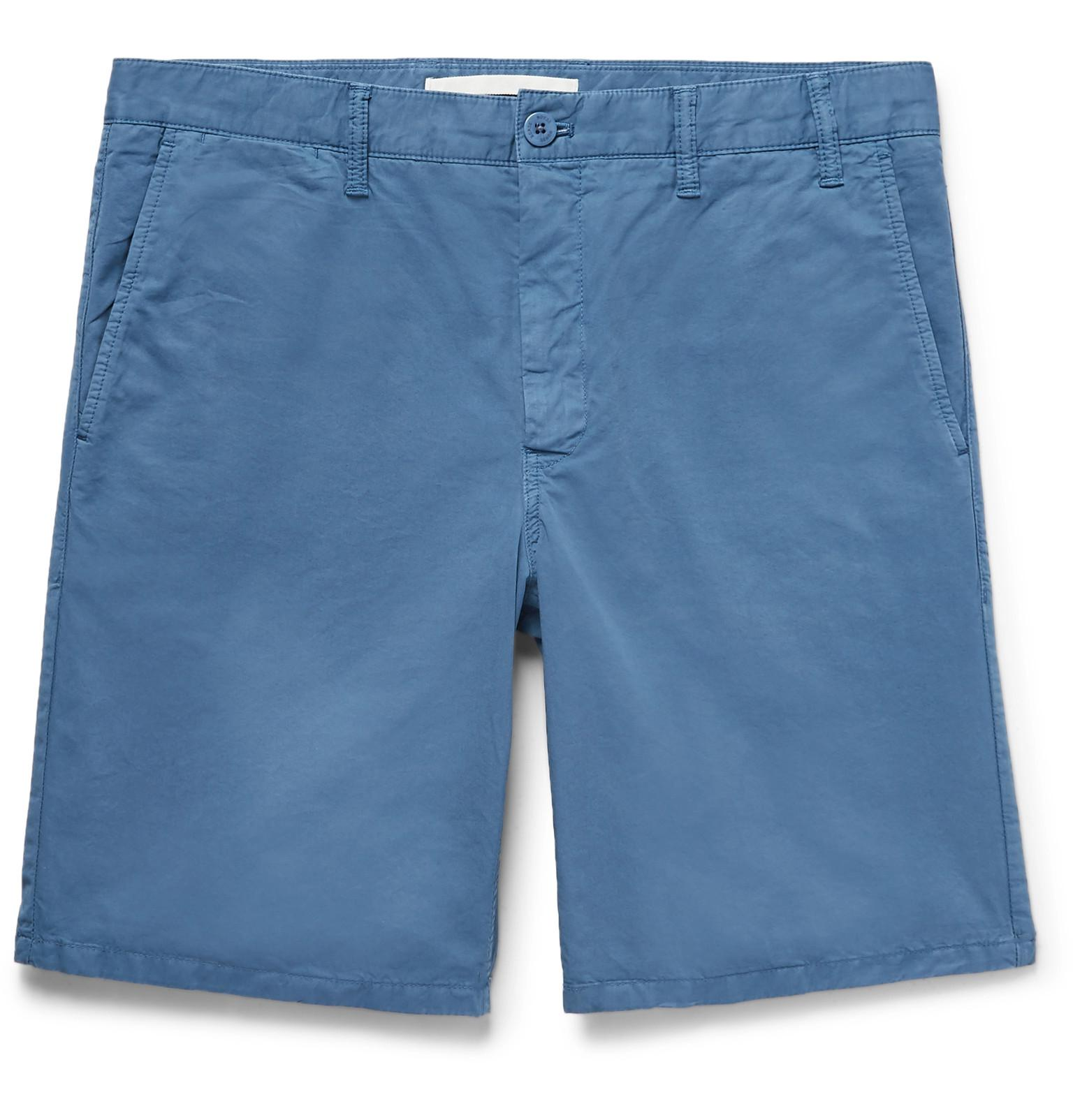 Norse projects Aros Slim-fit Garment-dyed Cotton-twill Shorts - Blue zxKDJicMh