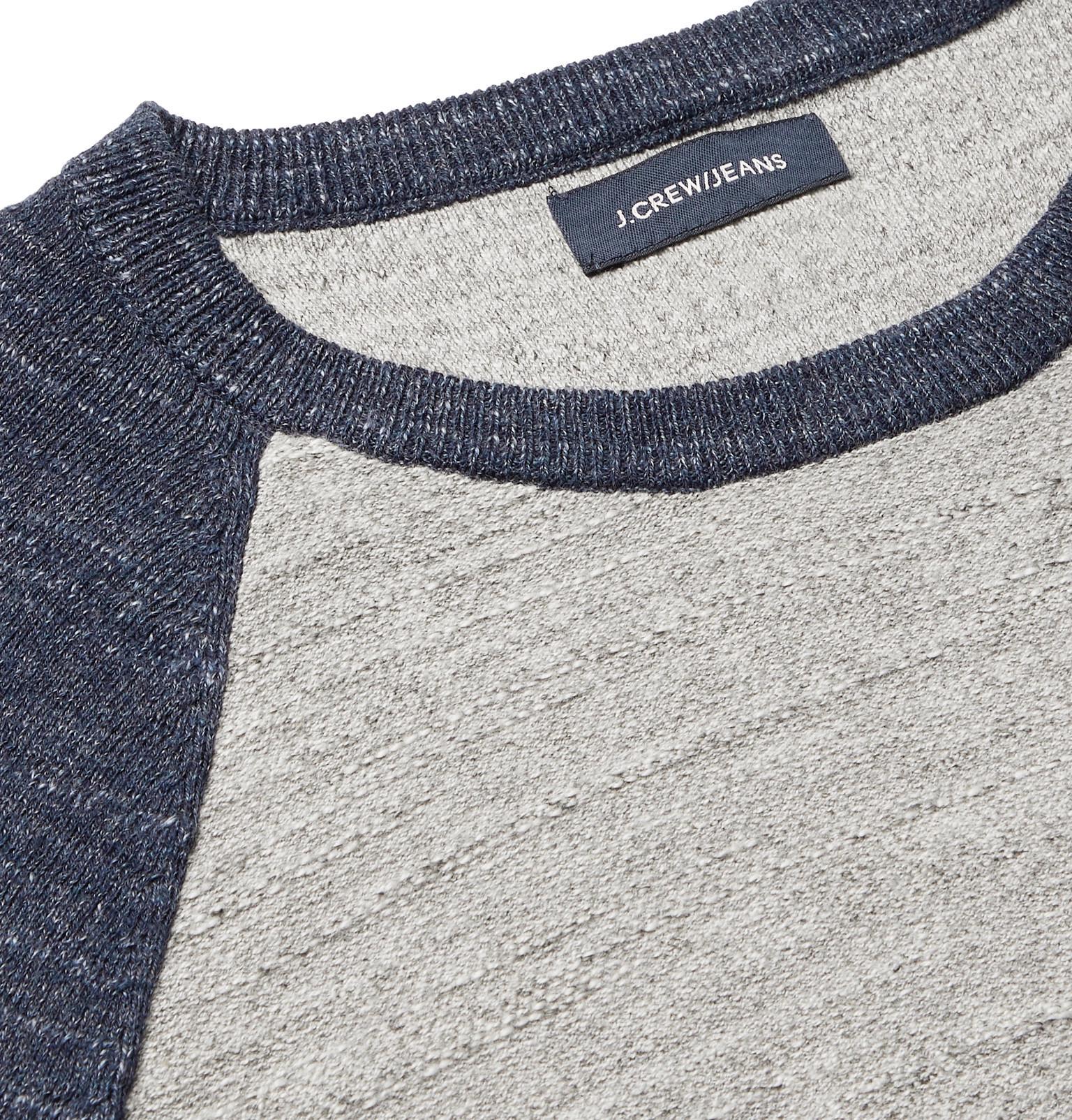 28c8a8316f8658 J.Crew - Gray Colour-block Slub Mélange Cotton Sweatshirt for Men - Lyst.  View fullscreen