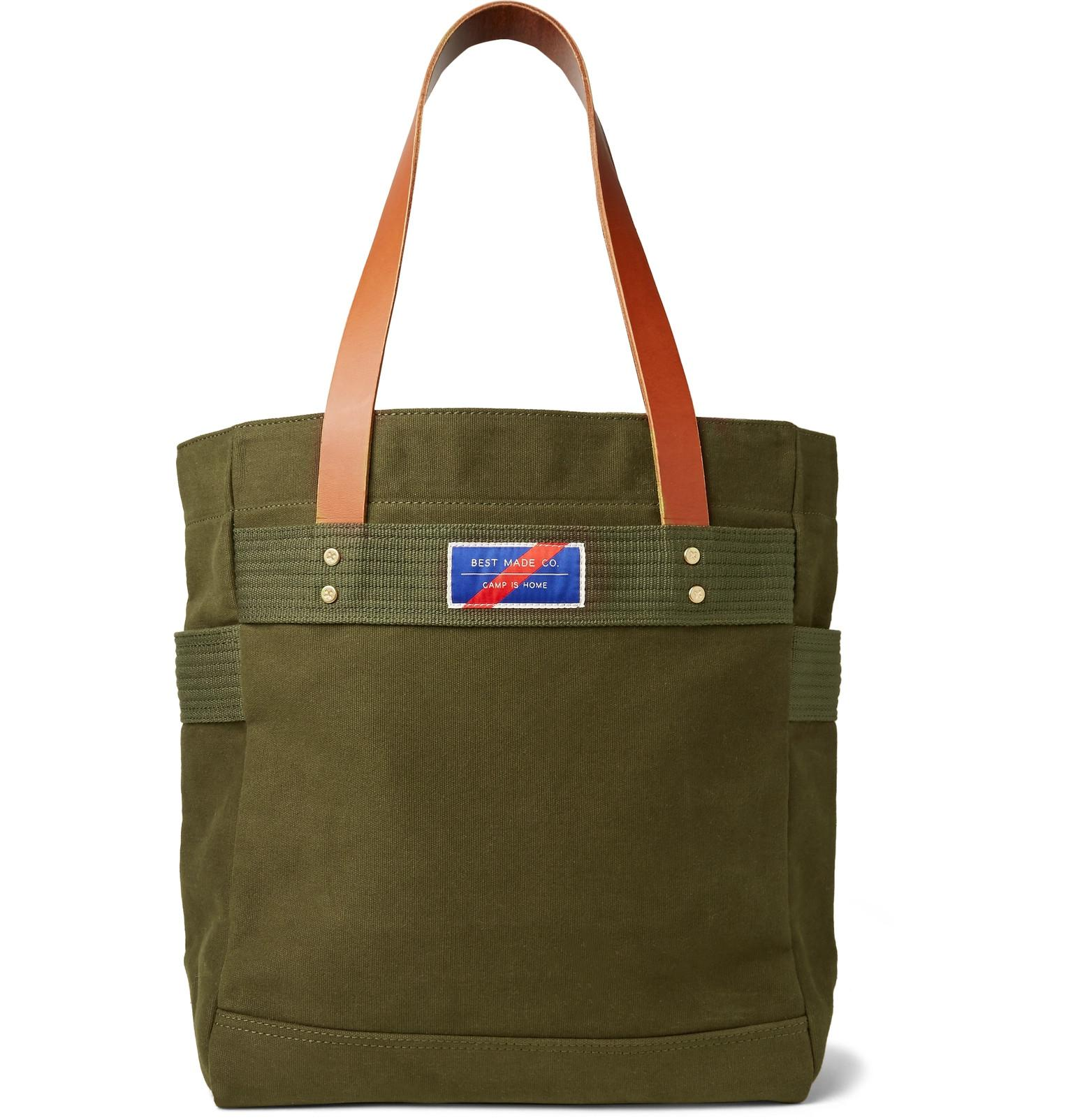 Best Made Company Men S Green Leather Trimmed Canvas Tote Bag