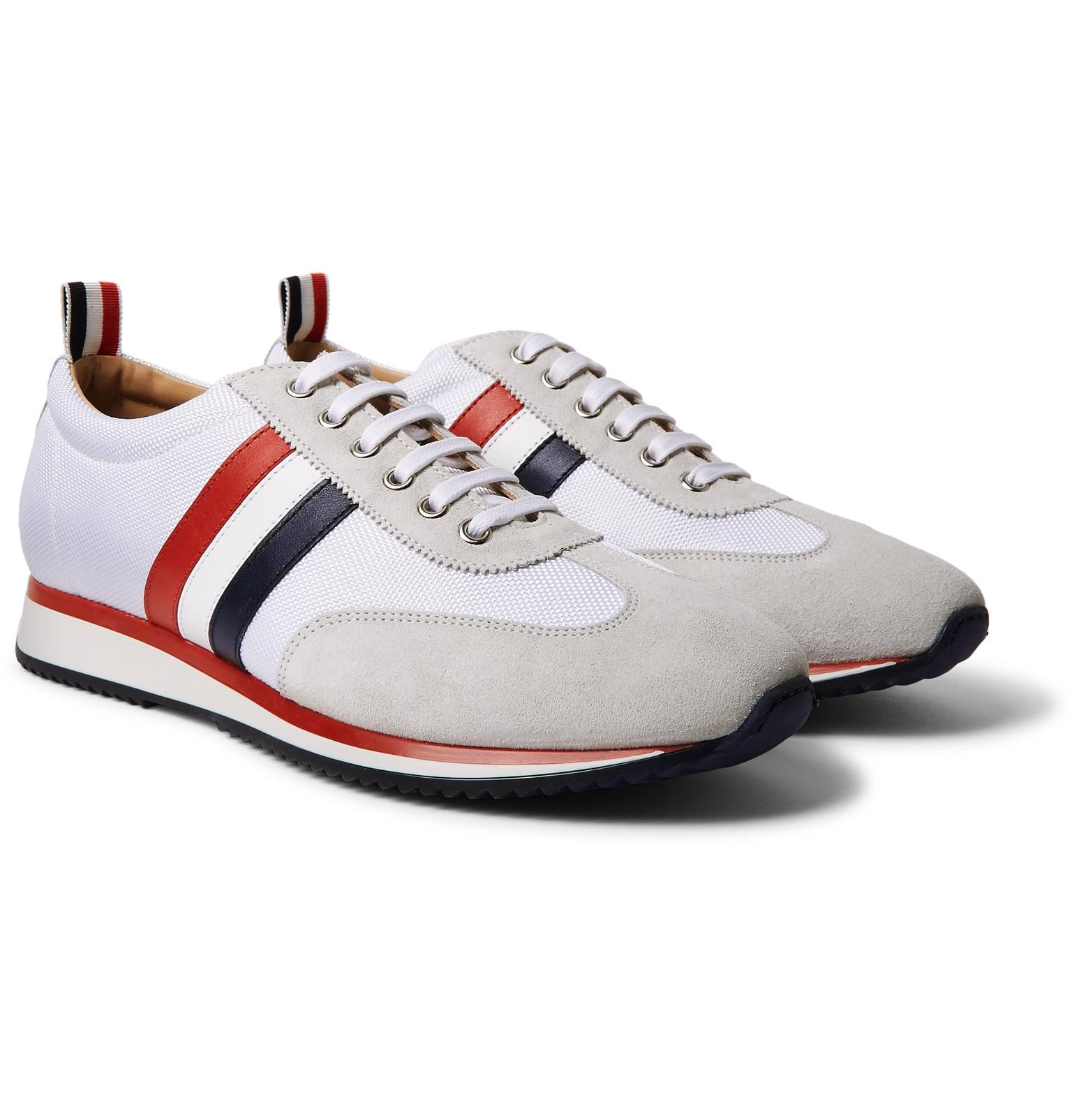 Striped Suede And Leather Sneakers Thom Browne dteVI