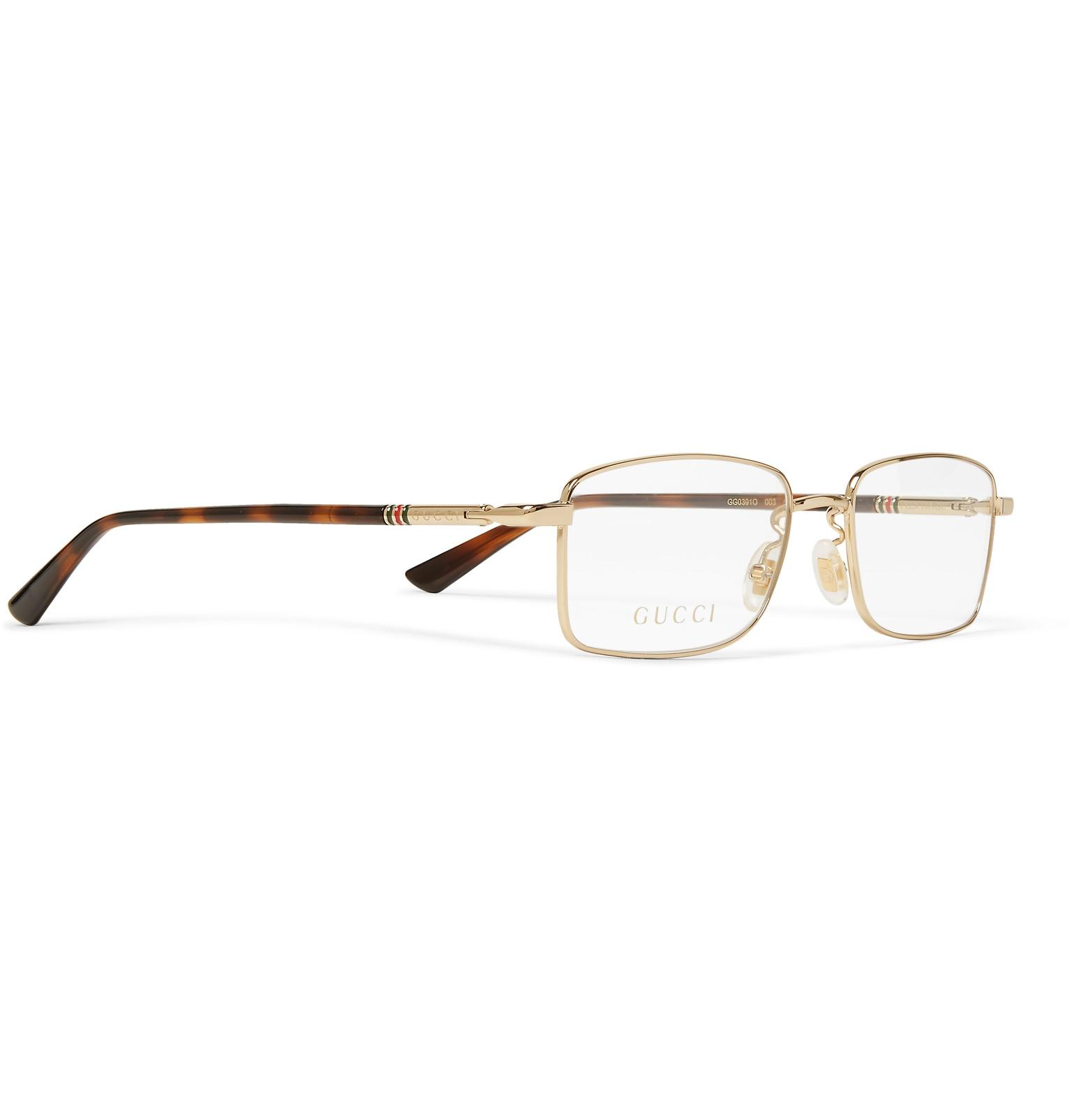 6d5a2b5a98 Gucci - Metallic Square-frame Gold-tone Optical Glasses for Men - Lyst.  View fullscreen