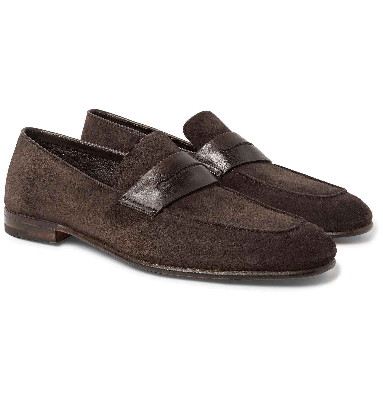 12c39ebe32b Ermenegildo Zegna Asola Leather-trimmed Suede Penny Loafers in Brown ...