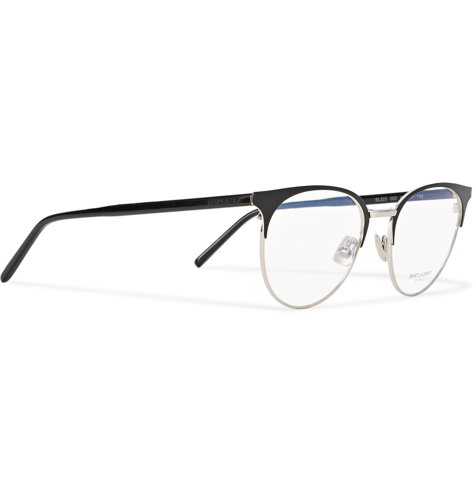199082b681 Saint Laurent Round-frame Acetate And Silver-tone Optical Glasses in ...