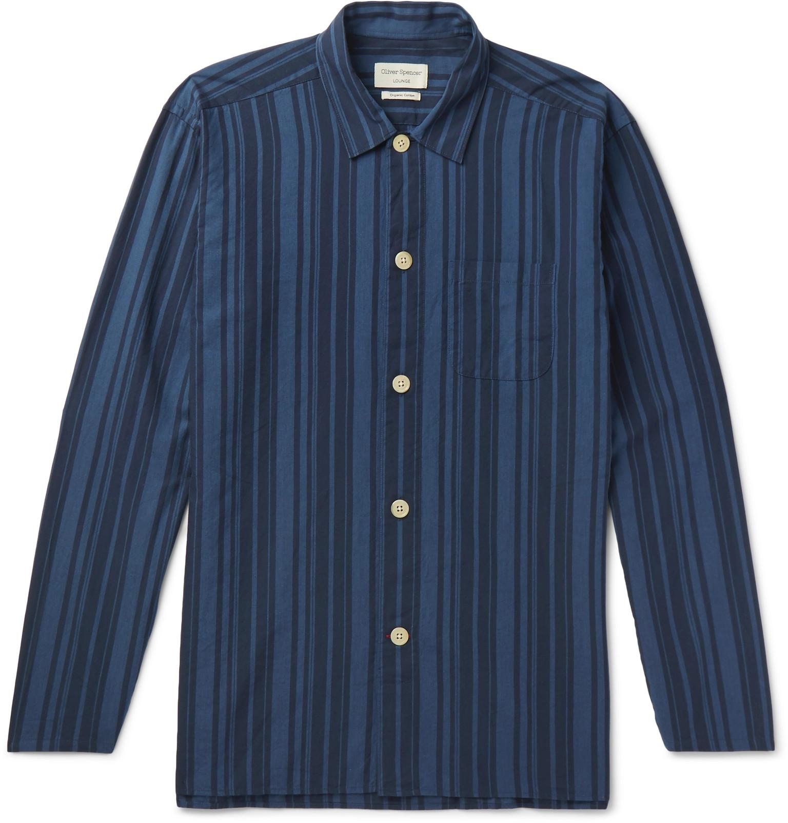 OLIVER SPENCER Farrow Striped Organic Cotton Pyjama Shirt - Navy WVBd2G5