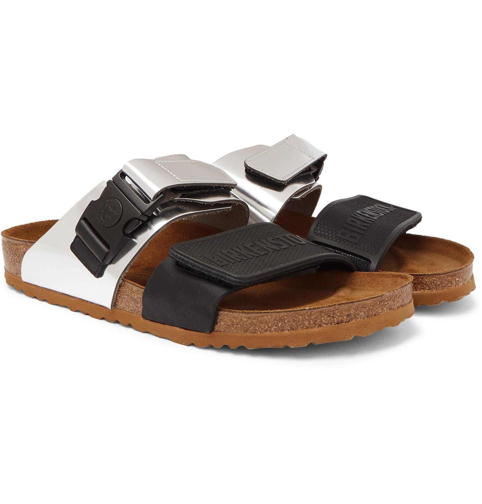 10f241b1949a Rick Owens. Men s + Birkenstock Rotterdam Metallic Leather And Rubber  Sandals