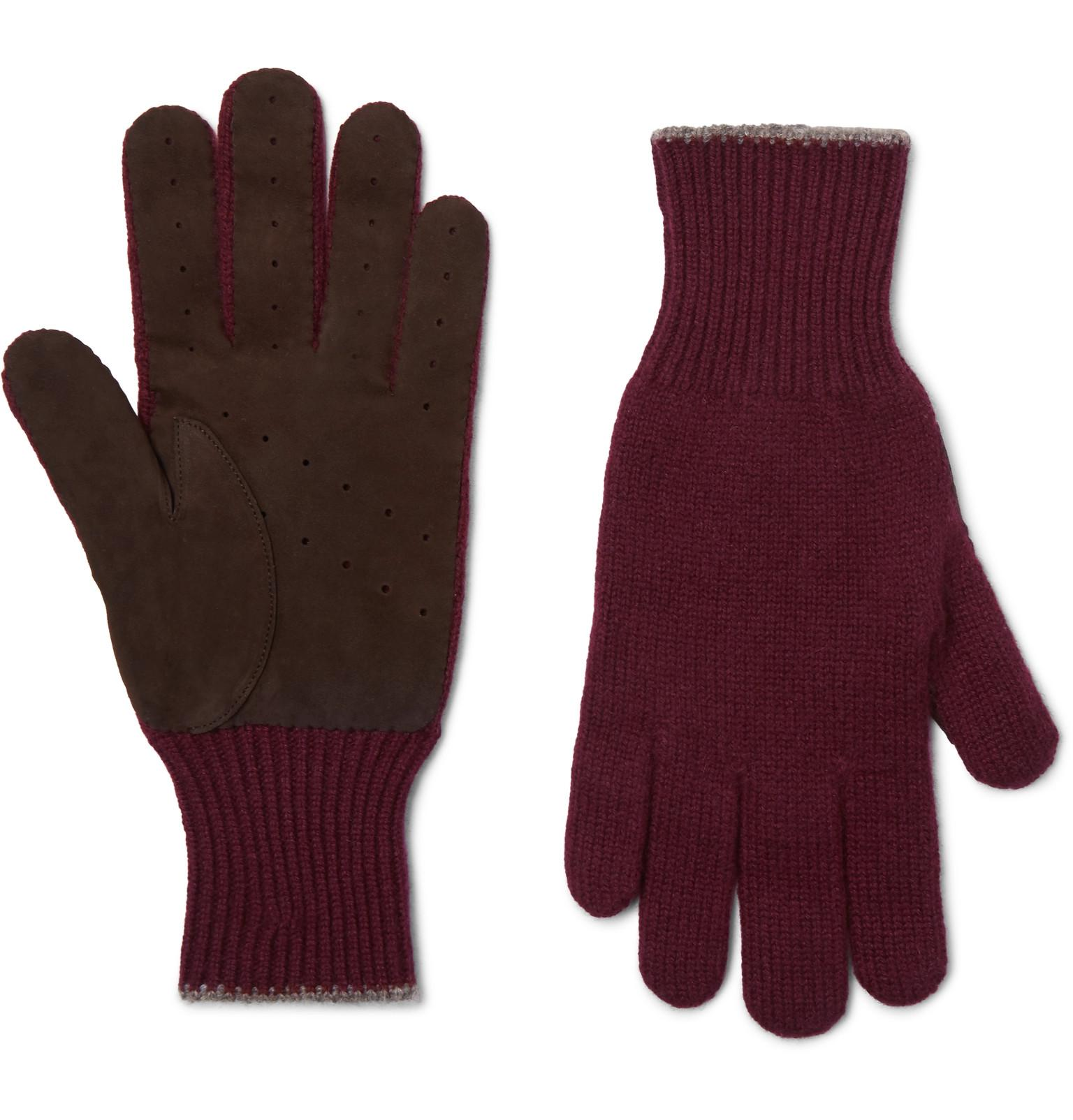 b0600ea2c Lyst - Brunello Cucinelli Wool And Suede Gloves in Purple for Men