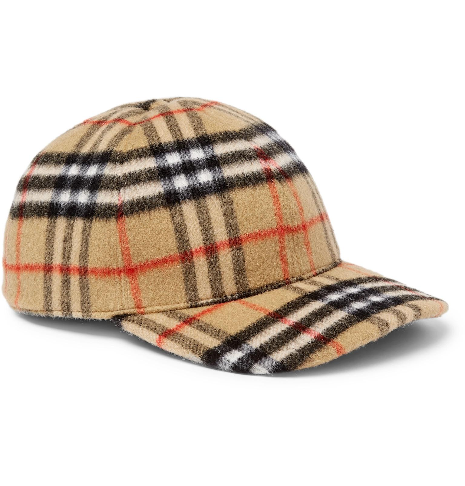 1b99e2b9c8a82 Burberry Checked Brushed-wool Baseball Cap in Brown for Men - Save 4 ...