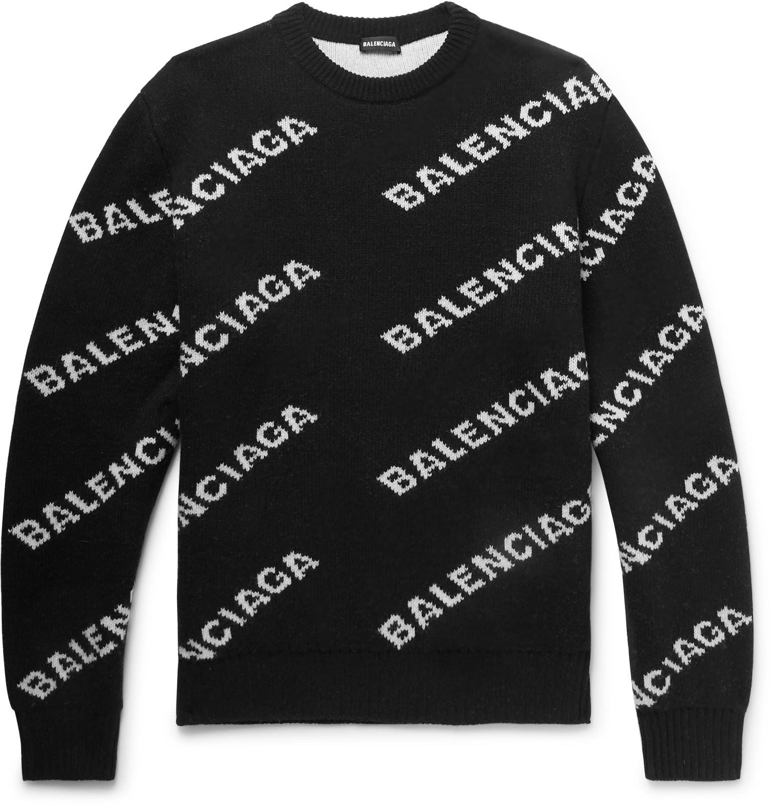 294eac9f5ac Balenciaga - Black Logo-intarsia Knitted Sweater for Men - Lyst. View  fullscreen