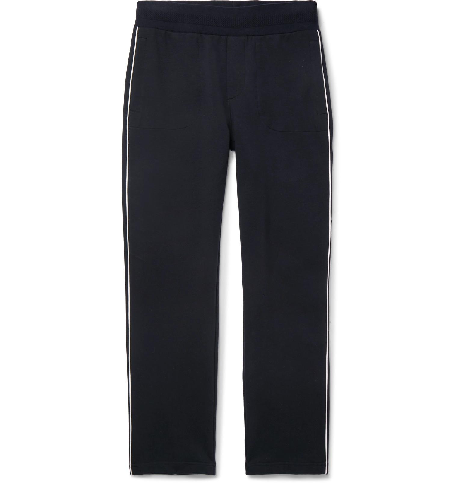 9c5b9fca3 Lyst - Moncler Striped Stretch-cotton Jersey Sweatpants in Blue for Men