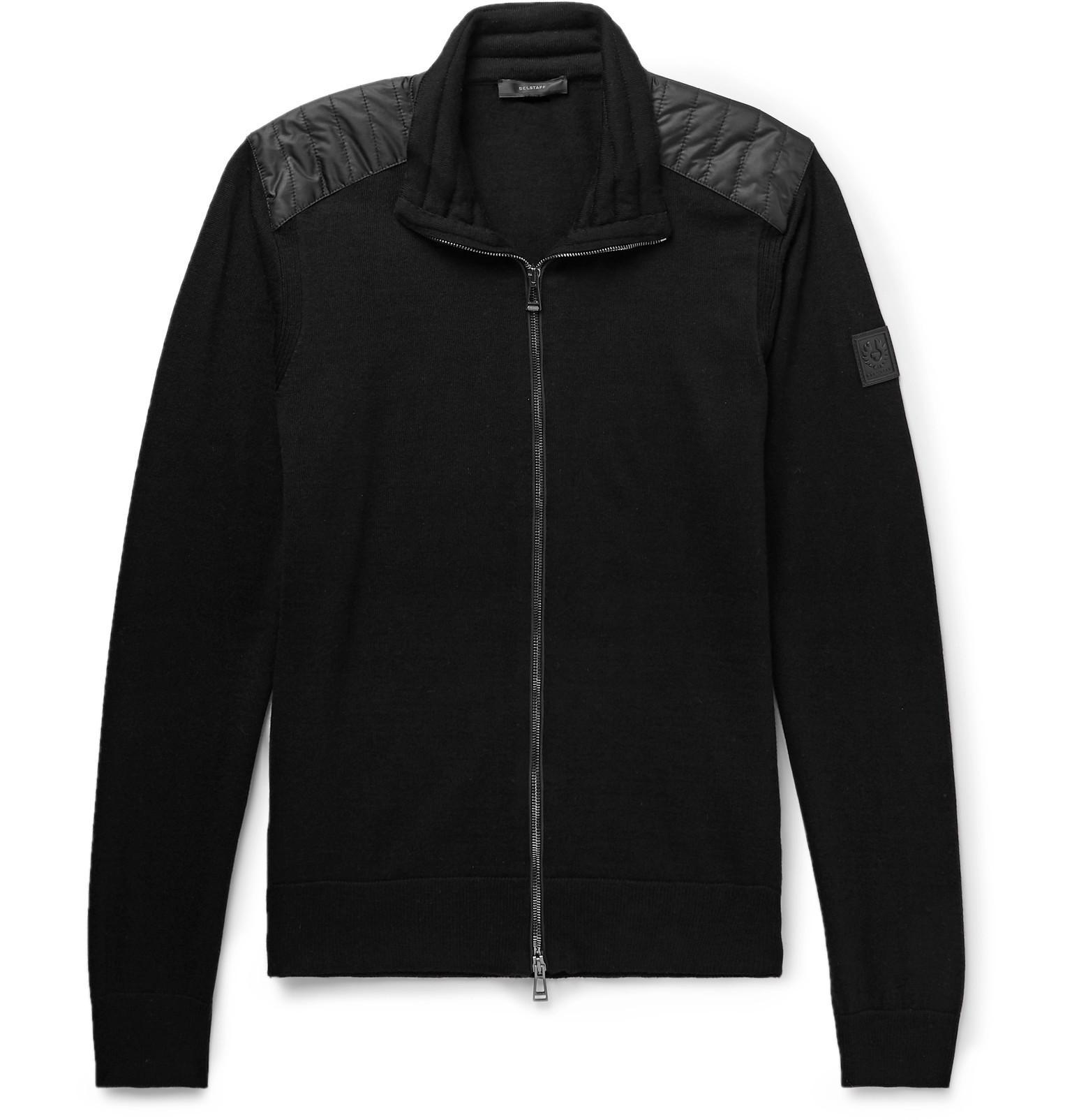 3af598f9b312 Belstaff. Men s Black Kelby Slim-fit Quilted Shell-panelled Virgin Wool  Zip-up Cardigan