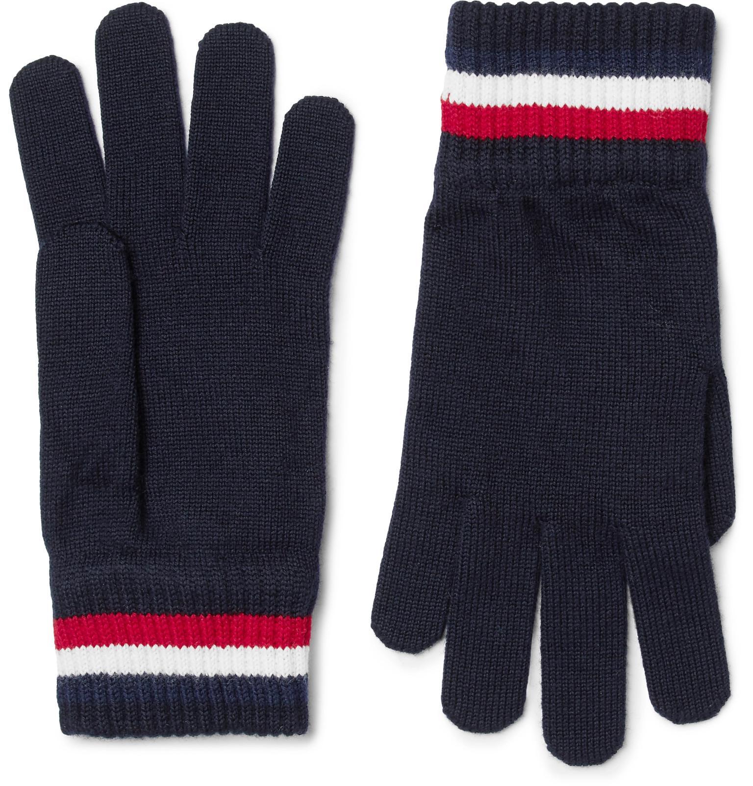 c5dbad18c357 Moncler Striped Virgin Wool Gloves in Blue for Men - Lyst