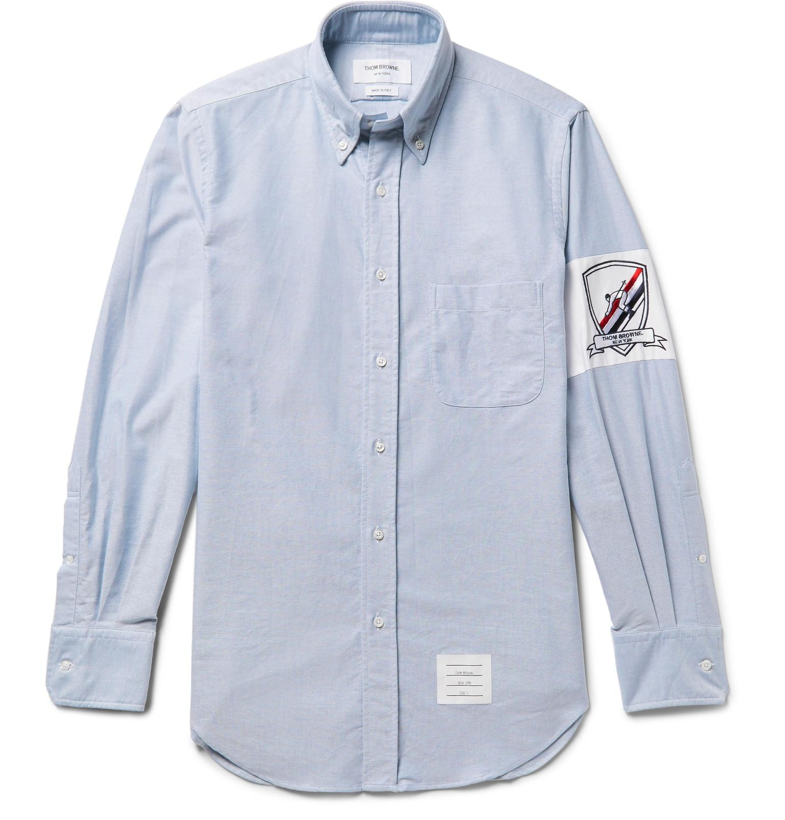 fd106529d9a3 Thom Browne Slim-fit Button-down Collar Embroidered Cotton Oxford ...