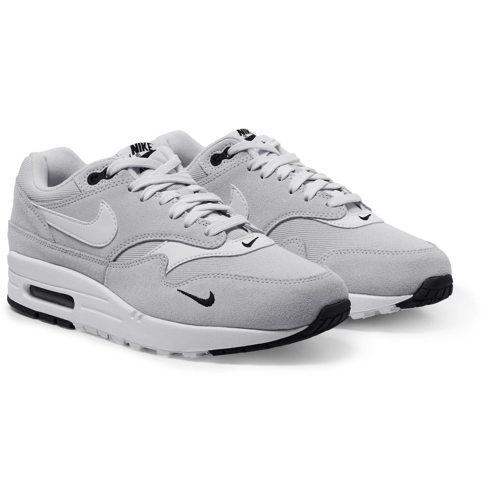 low priced b18cd a0467 Nike Air Max 1 Premium Leather-trimmed Suede And Mesh Sneakers in ...